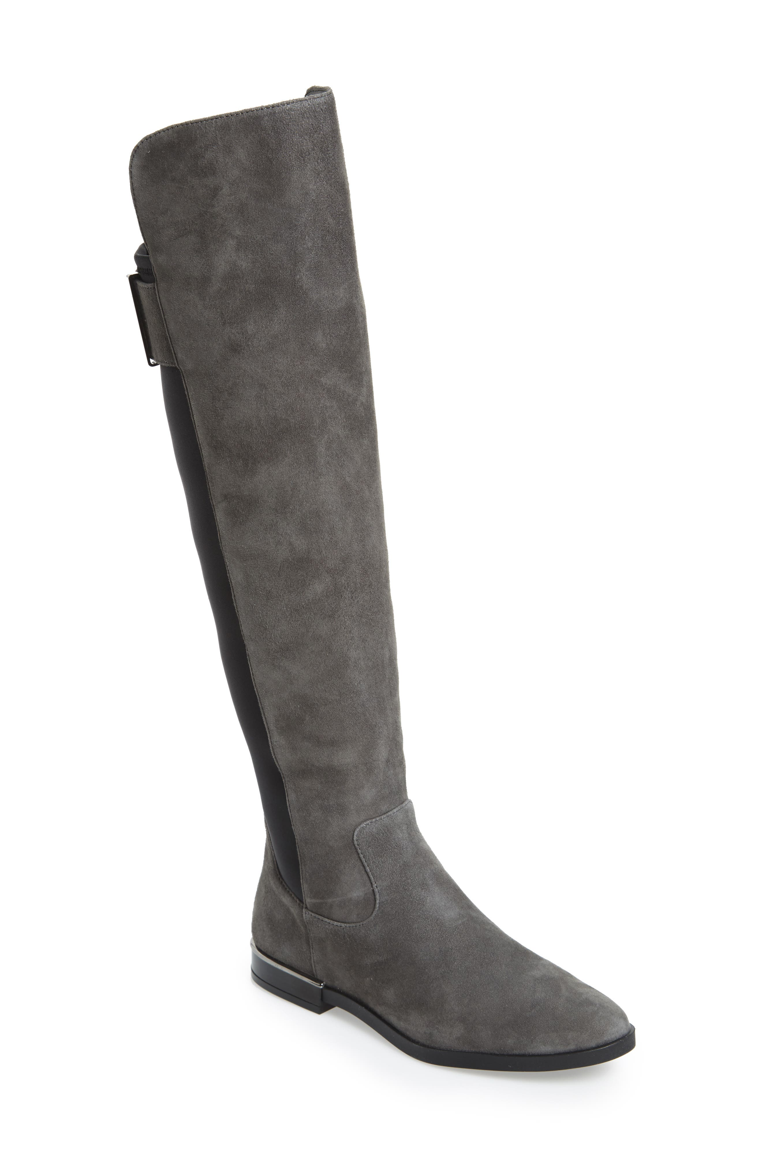 Priya Over the Knee Boot,                         Main,                         color, Slate/ Black Suede
