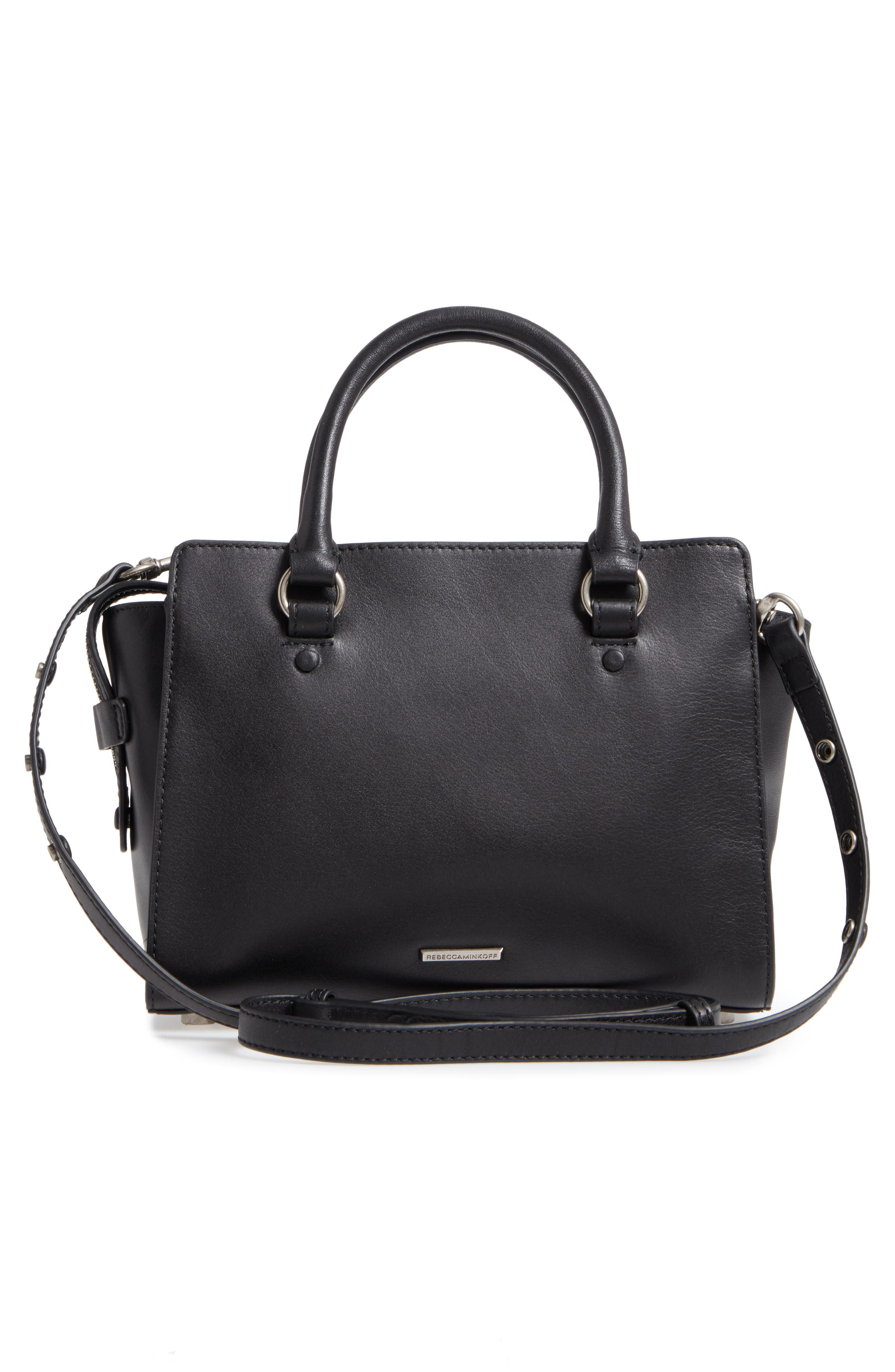 Small Jamie Leather Satchel,                             Alternate thumbnail 3, color,                             Black