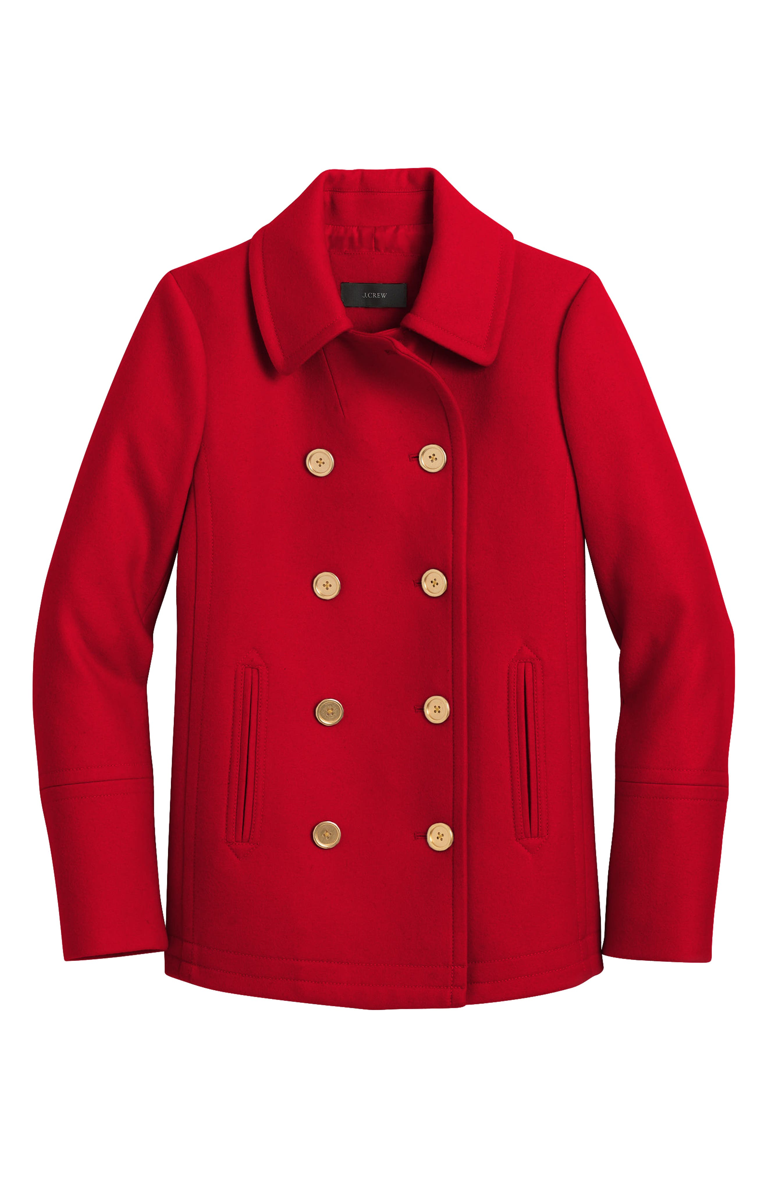 Heritage Wool Blend Peacoat,                             Main thumbnail 1, color,                             Bright Red