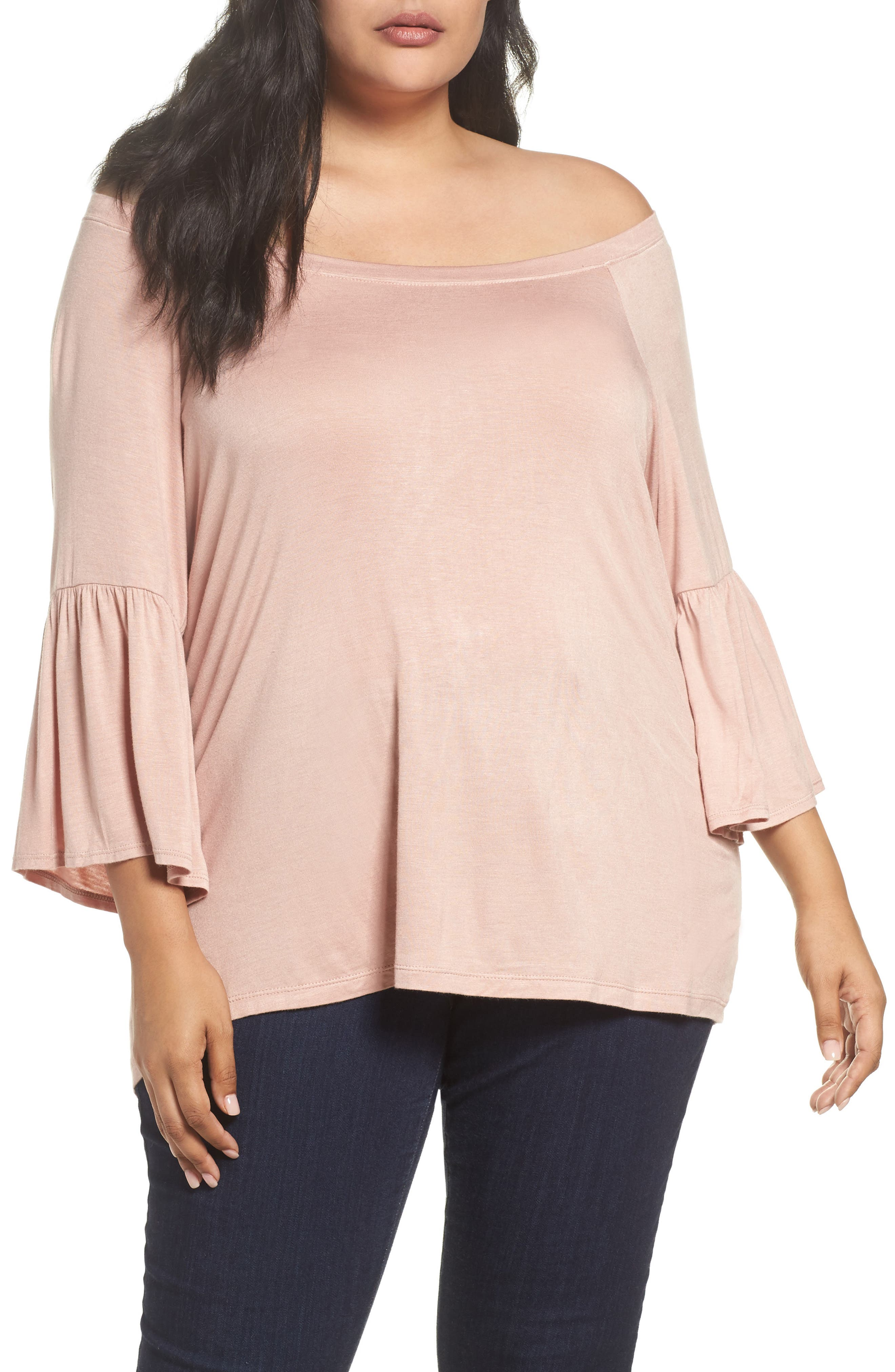 Bobeau Off the Shoulder Bell Sleeve Top (Plus Size)