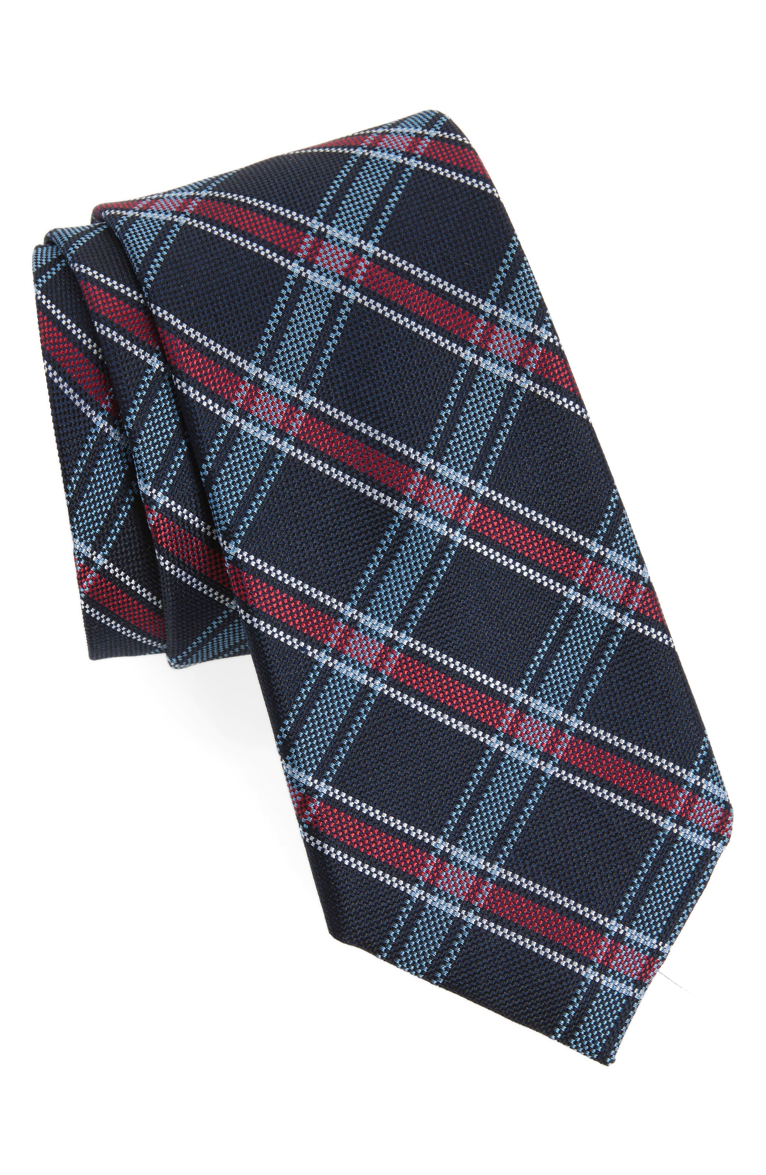 Alternate Image 1 Selected - Nordstrom Men's Shop Oxford Plaid Silk Tie