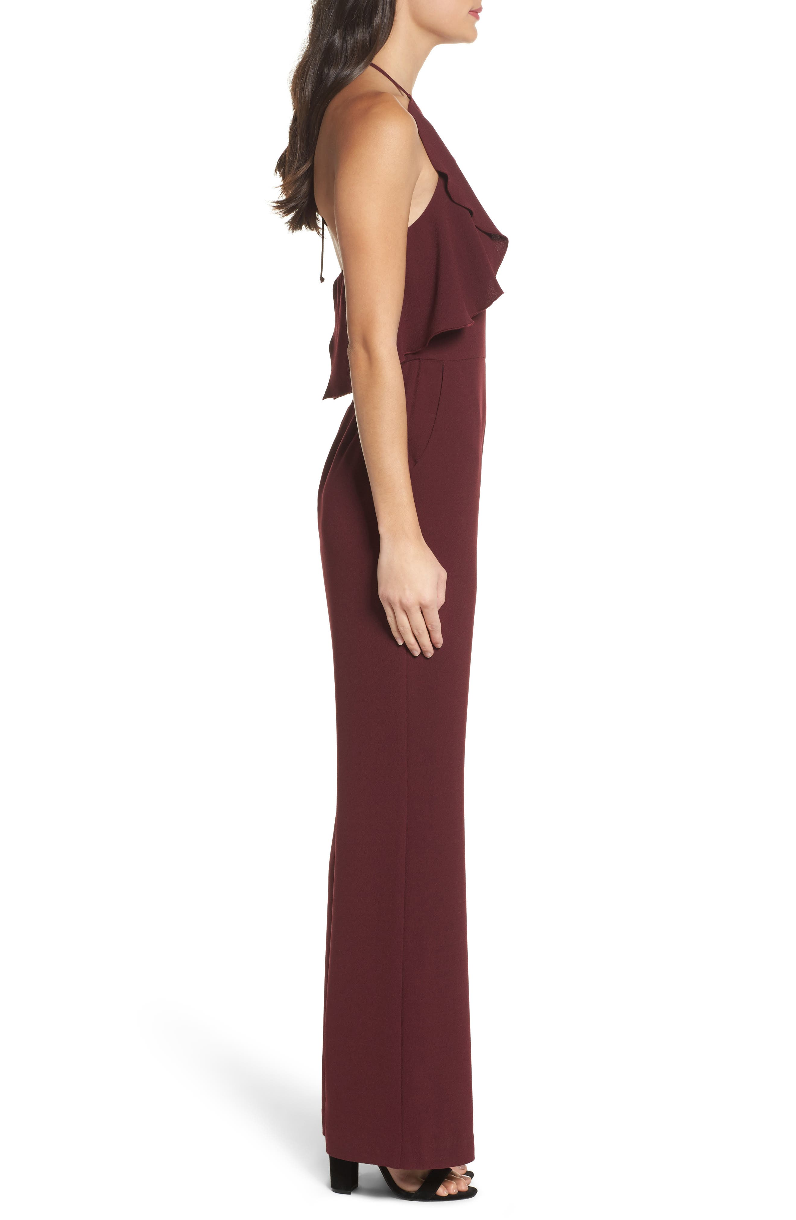 Ruffle Halter Jumpsuit,                             Alternate thumbnail 3, color,                             Raisin