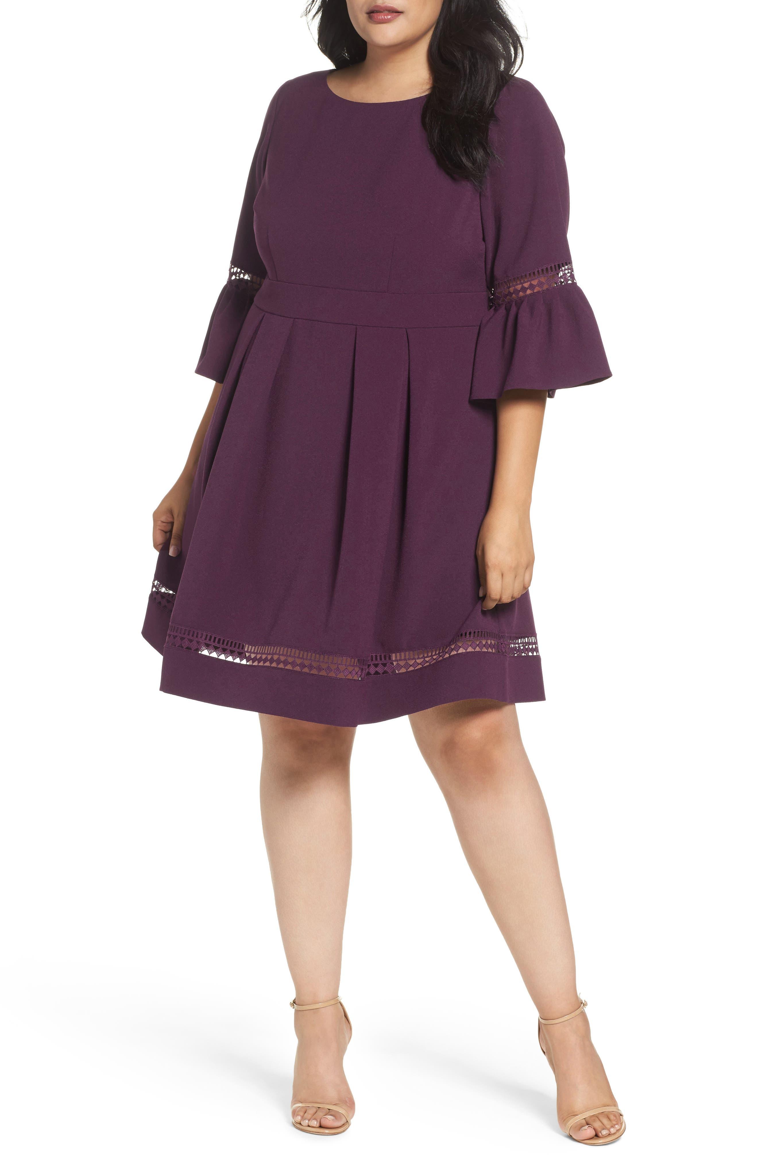 Main Image - Eliza J Bell Sleeve Fit & Flare Dress (Plus Size)