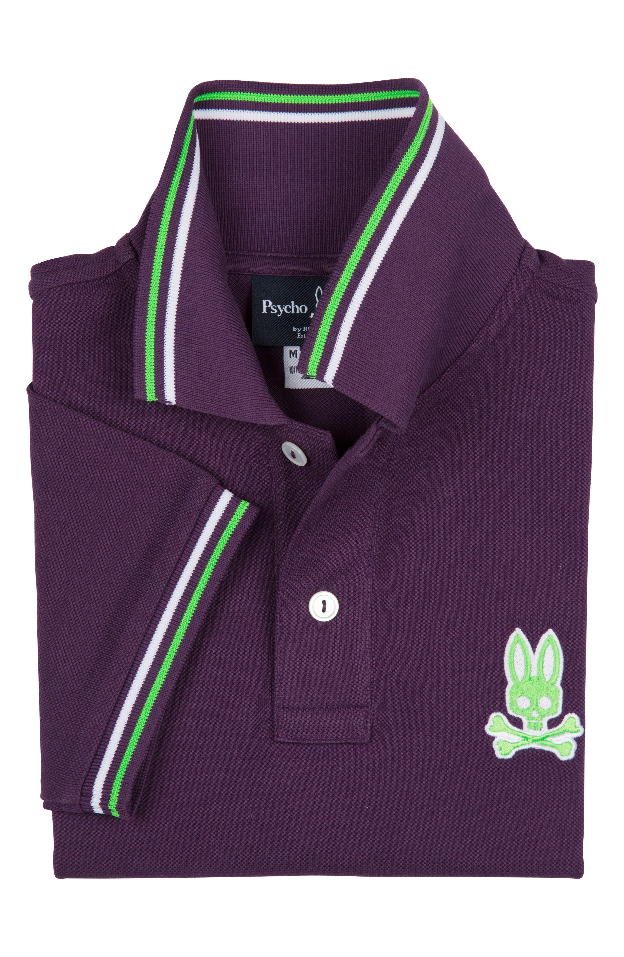 Neon Piqué Pima Cotton Polo,                             Alternate thumbnail 2, color,                             Eggplant
