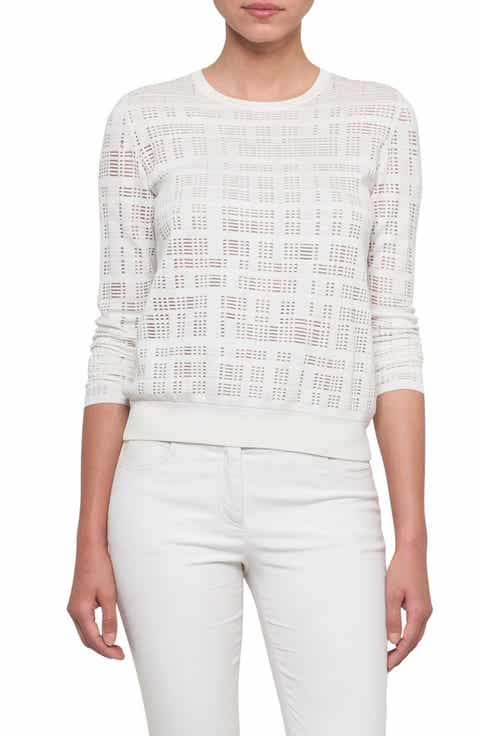 Akris Embroidered Silk Blend Knit Top