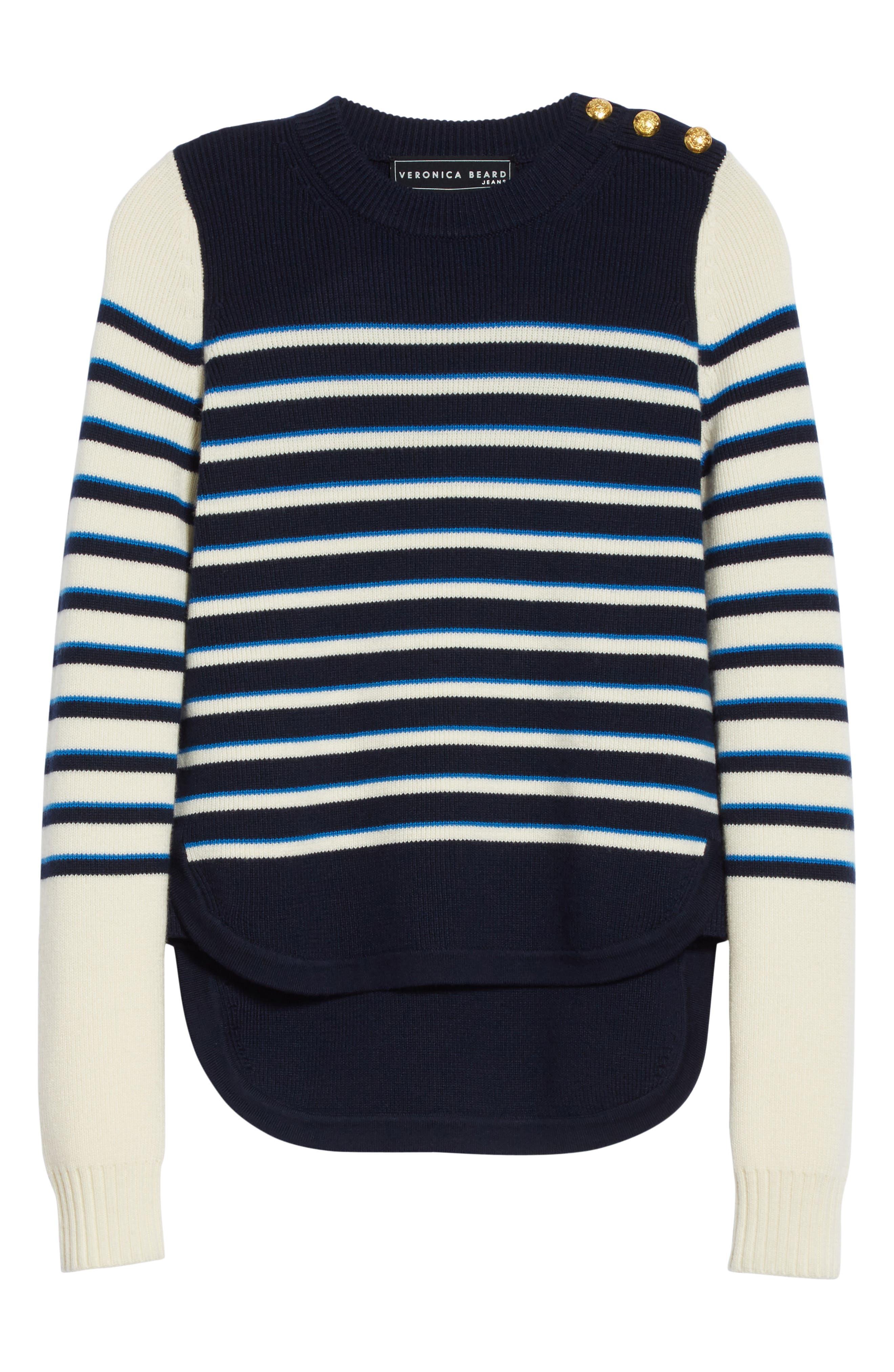 Amos Stripe Merino Wool Sweater,                             Alternate thumbnail 6, color,                             Navy/ Ivory/ Blue