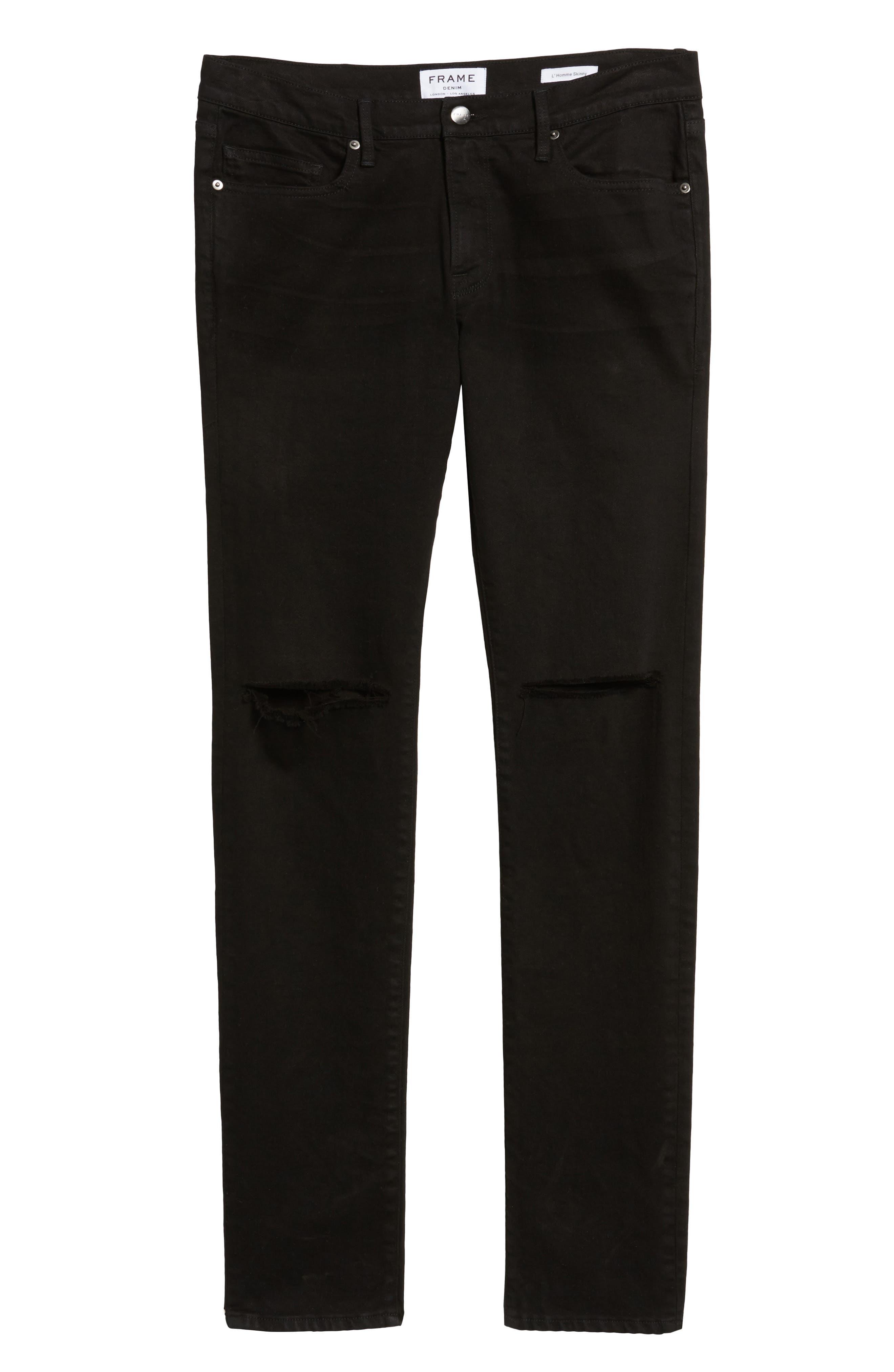 Alternate Image 6  - FRAME L'Homme Slim Fit Jeans (Noir Slits)