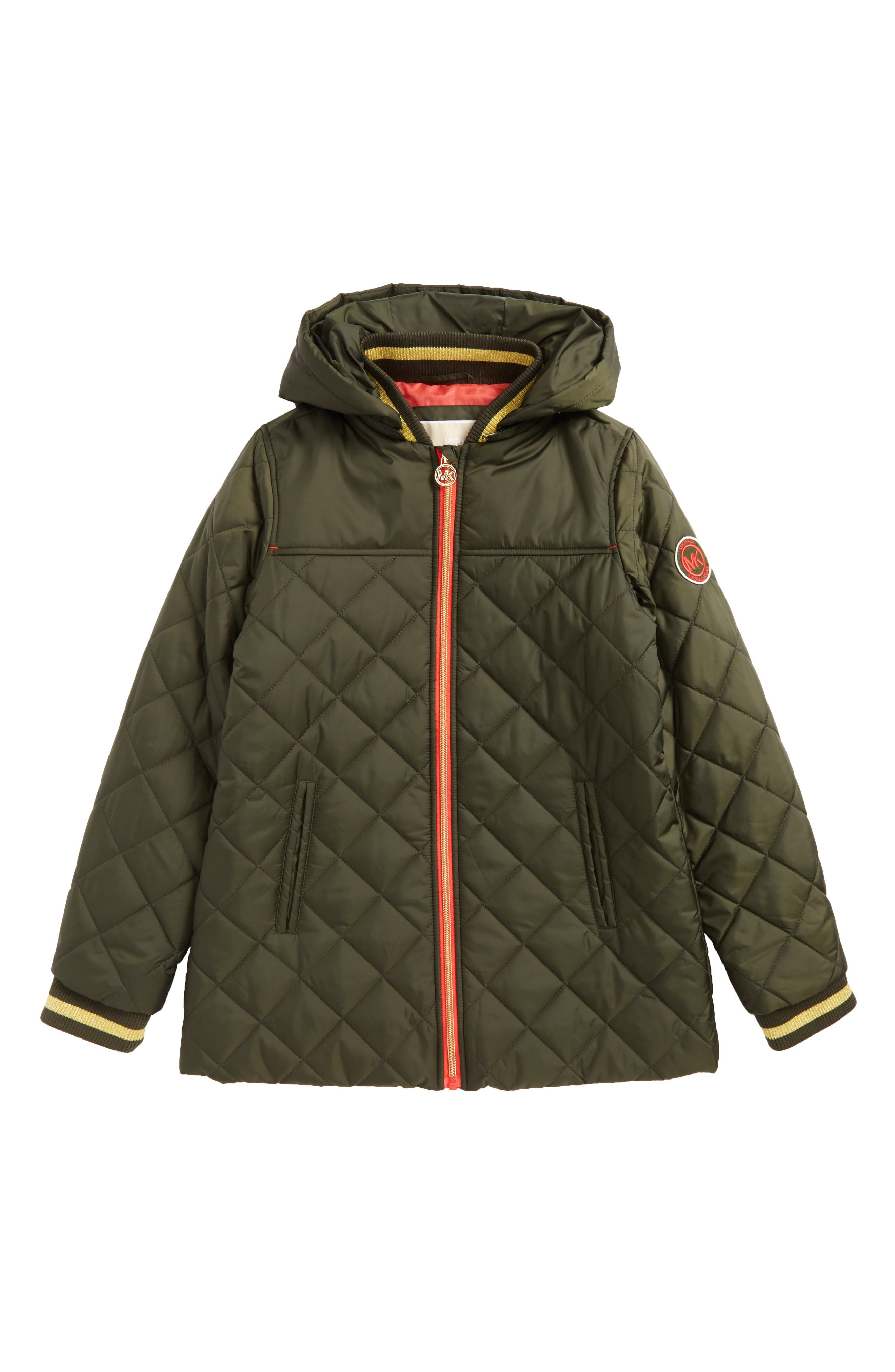 Quilted Hooded Jacket,                         Main,                         color, Ivy