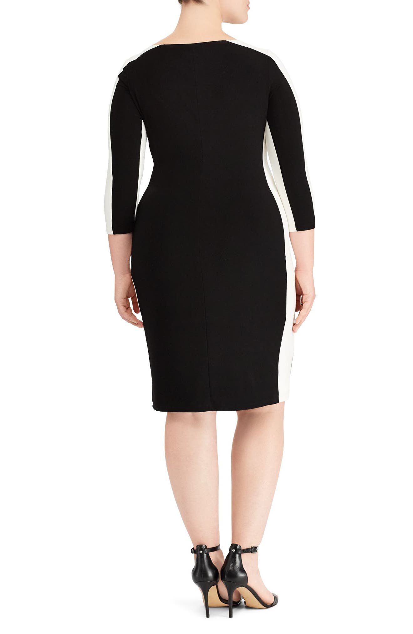 Two-Tone Ruched Jersey Dress,                             Alternate thumbnail 2, color,                             Black/ Lauren White