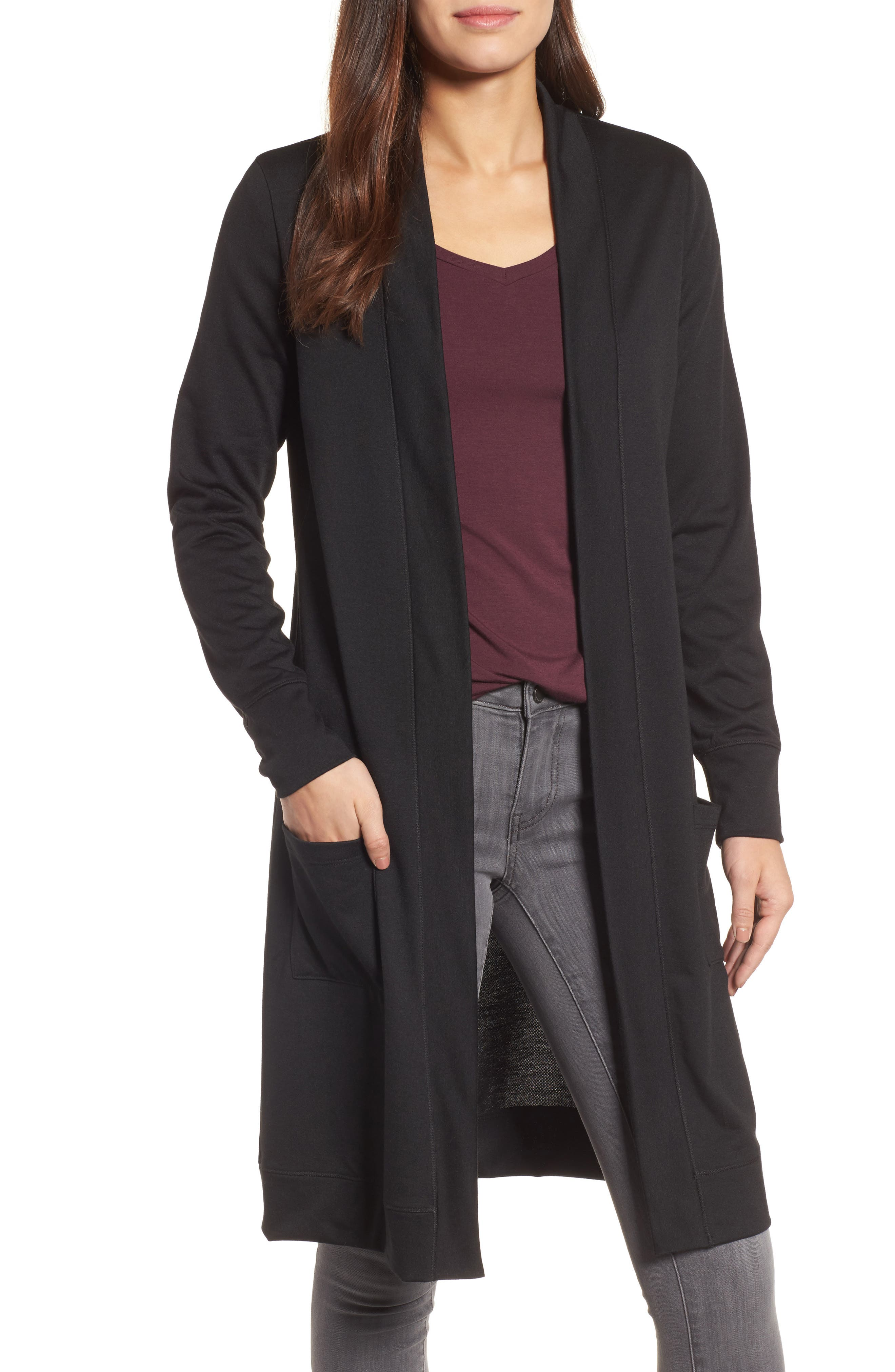 Caslon® Long French Terry Cardigan