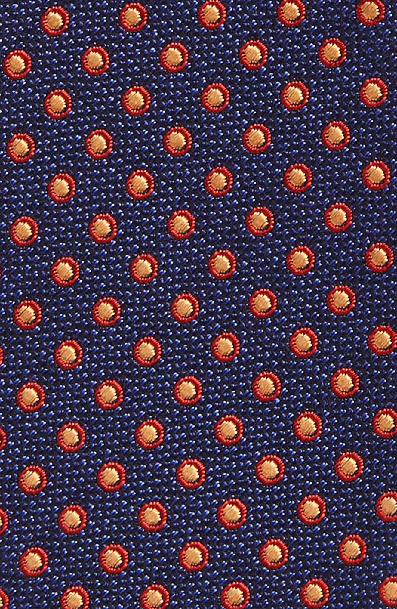 Fancy Dots Silk & Cotton Bow Tie,                             Alternate thumbnail 3, color,                             Navy