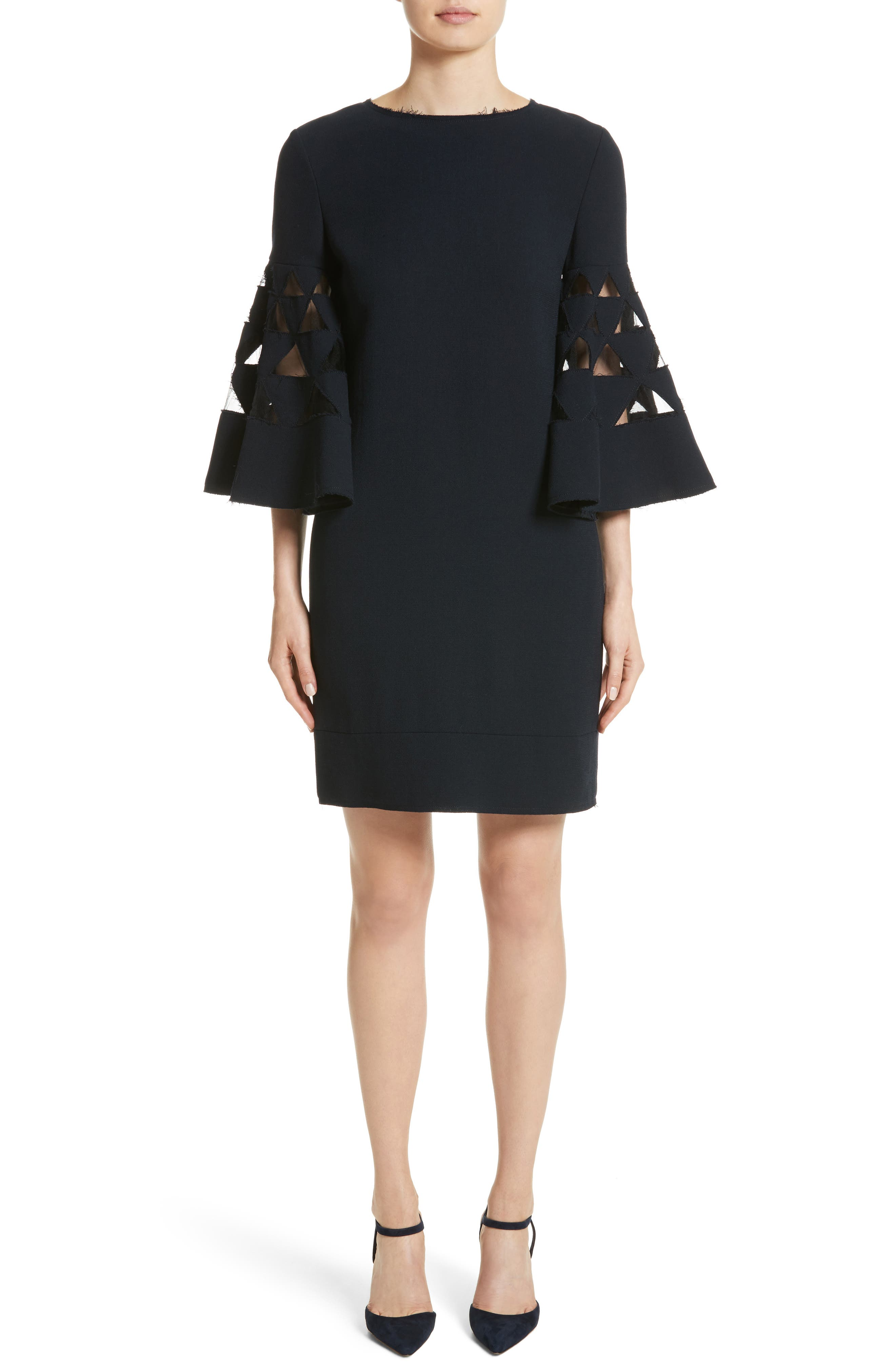 Cutout Bell Sleeve Stretch Wool Crepe Shift Dress,                         Main,                         color, Navy