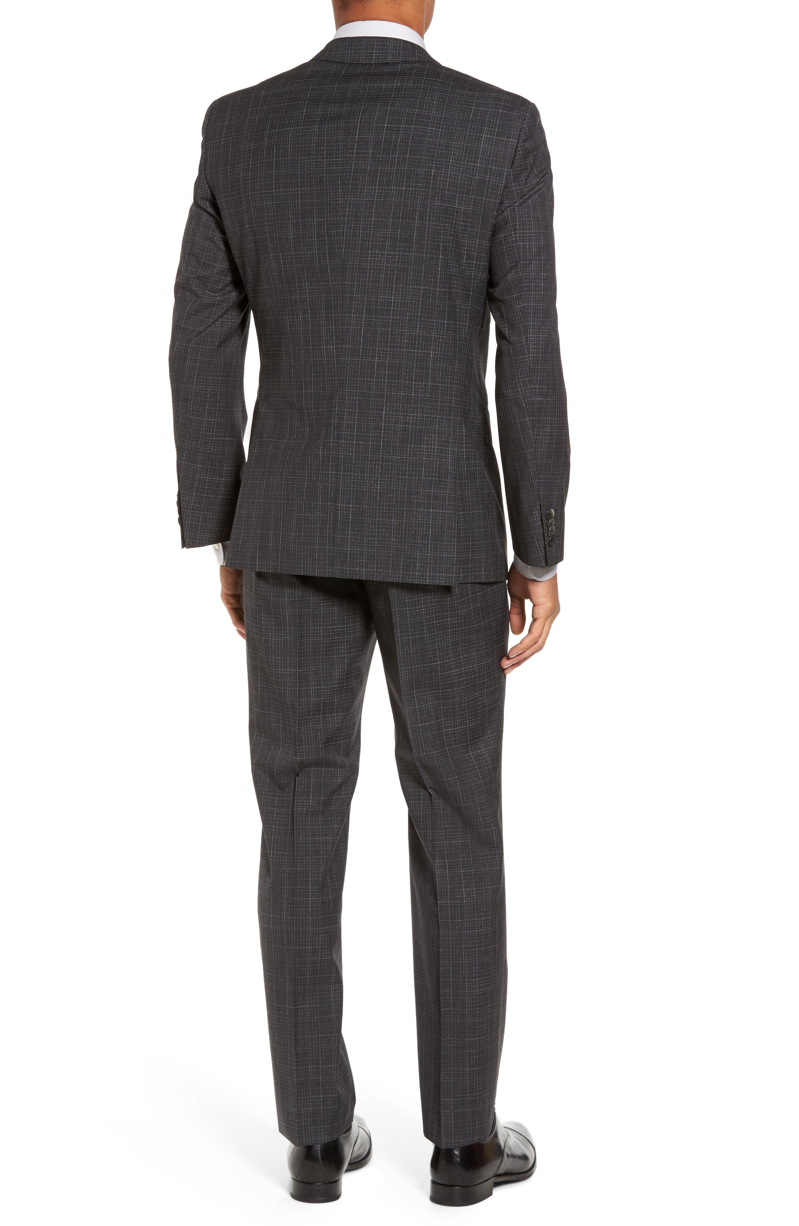 Hutson/Gander Trim Fit Plaid Wool Suit,                             Alternate thumbnail 2, color,                             Open Grey