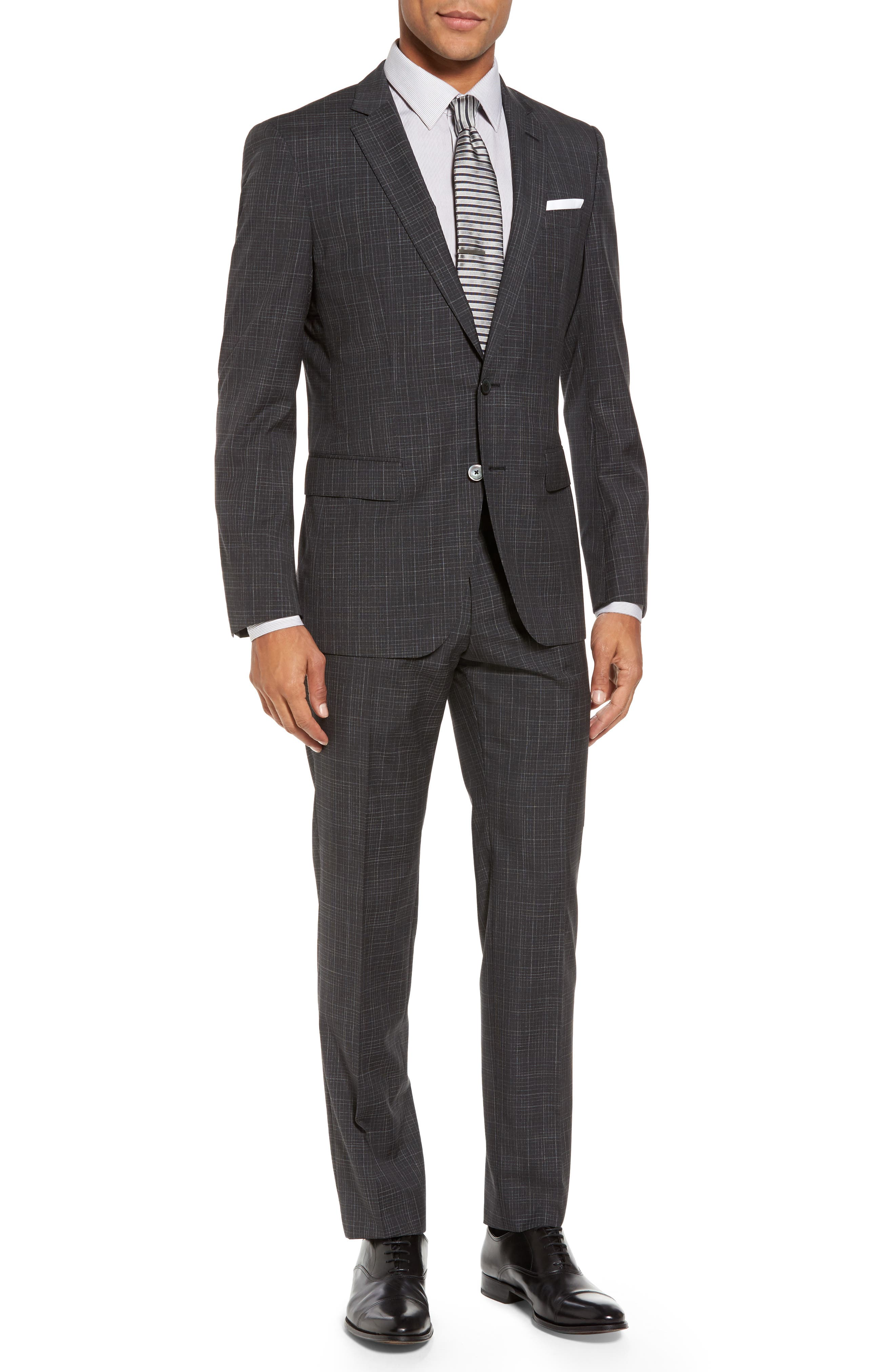 Hutson/Gander Trim Fit Plaid Wool Suit,                         Main,                         color, Open Grey