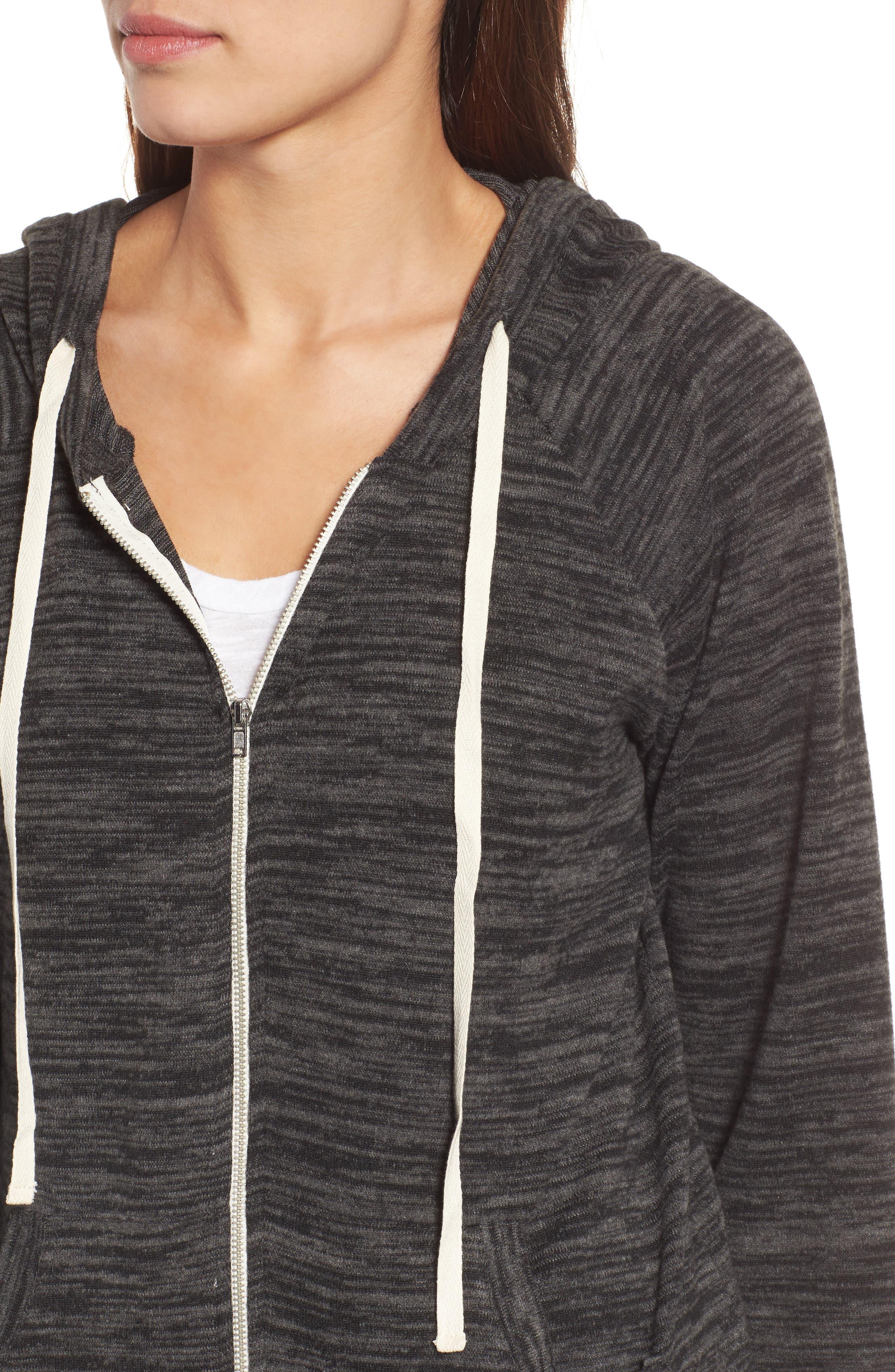 Zip Front Hoodie,                             Alternate thumbnail 4, color,                             Black