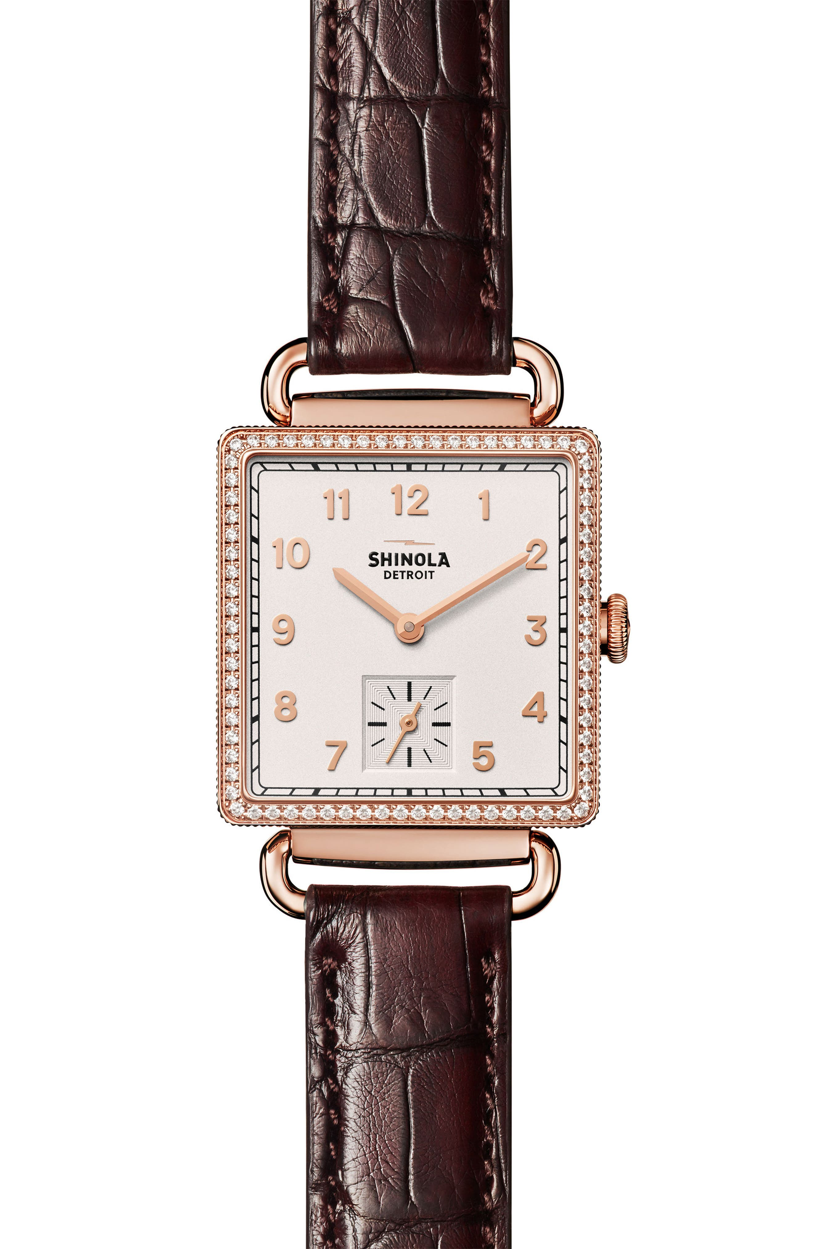 Cass Diamond Leather Strap Watch, 28mm x 27mm,                         Main,                         color, Black/ White/ Rose Gold