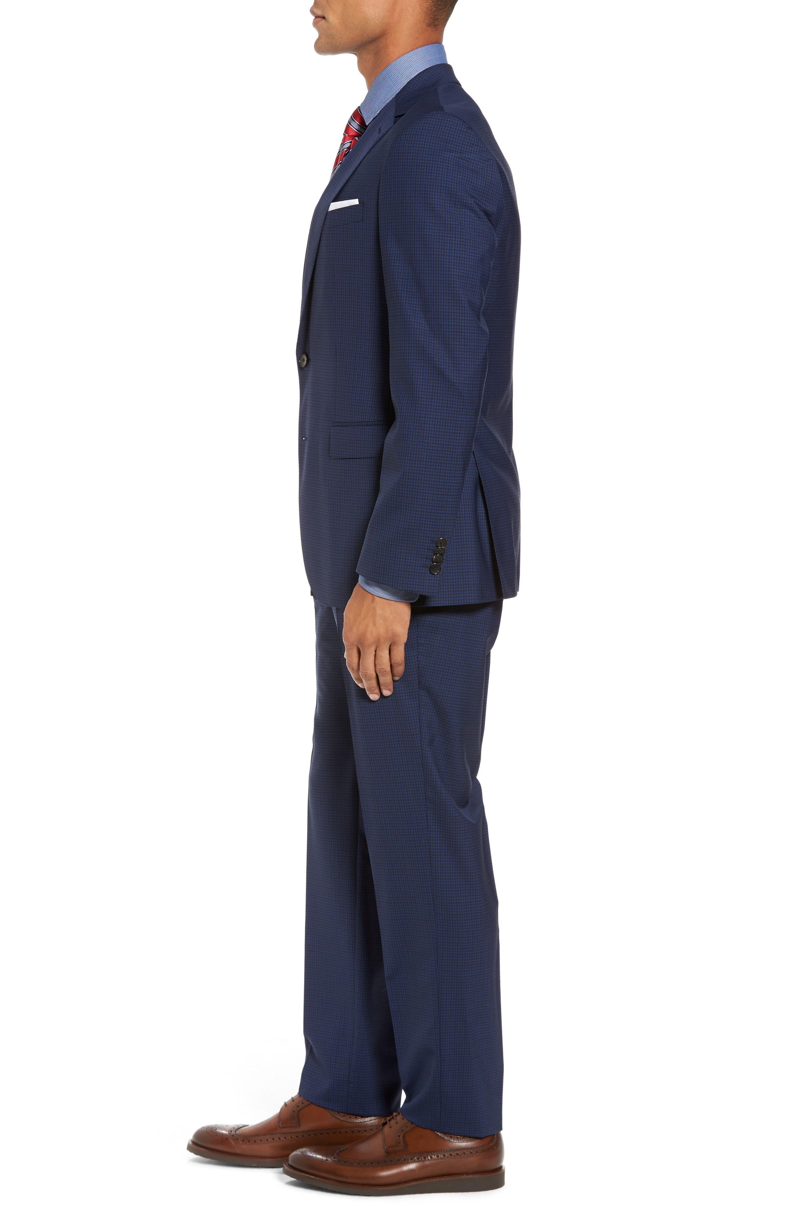 Novan/Ben Trim Fit Check Wool Suit,                             Alternate thumbnail 3, color,                             Dark Blue