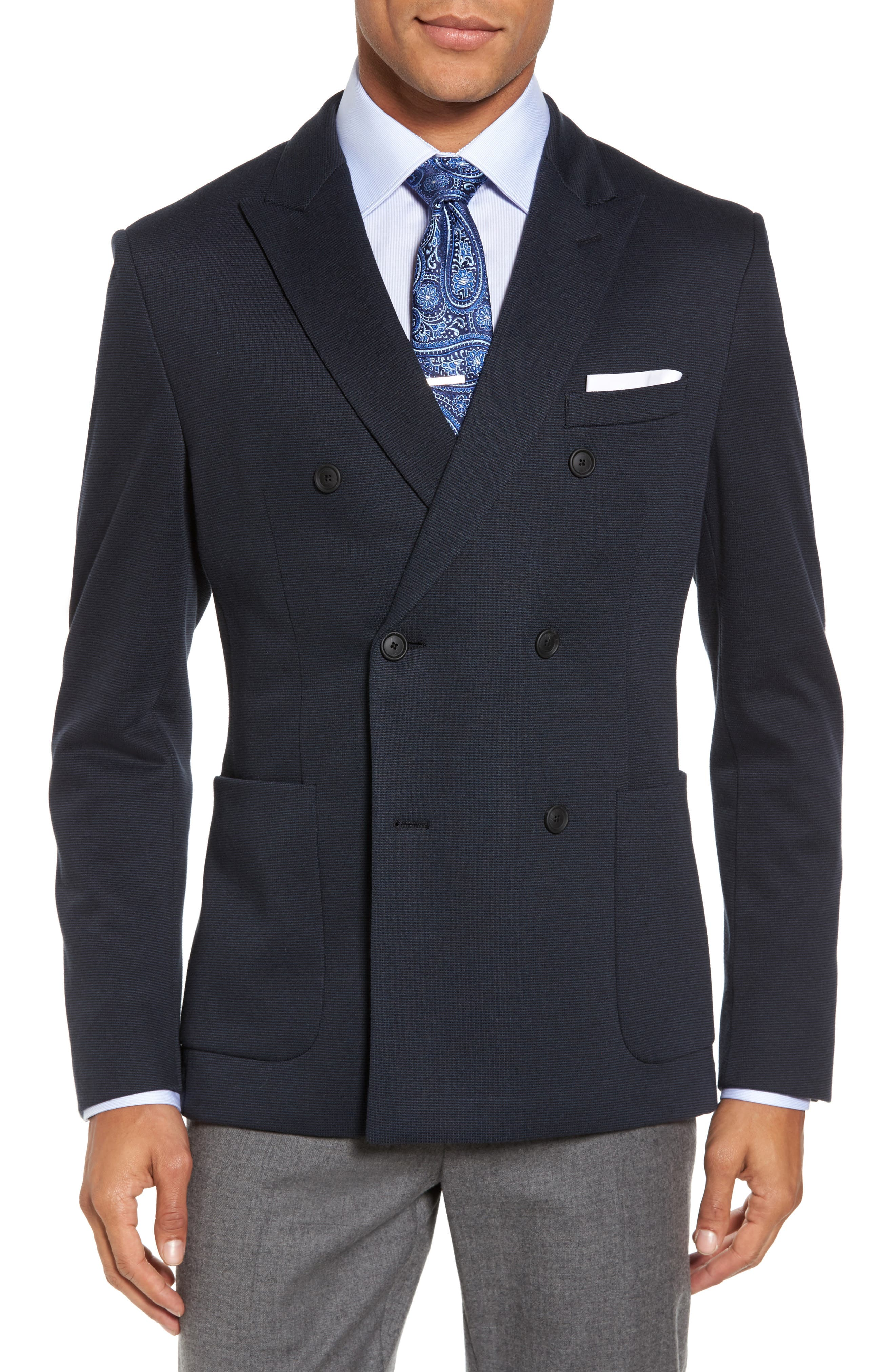 Nayler-J Trim Fit Double-Breasted Blazer,                         Main,                         color, Navy