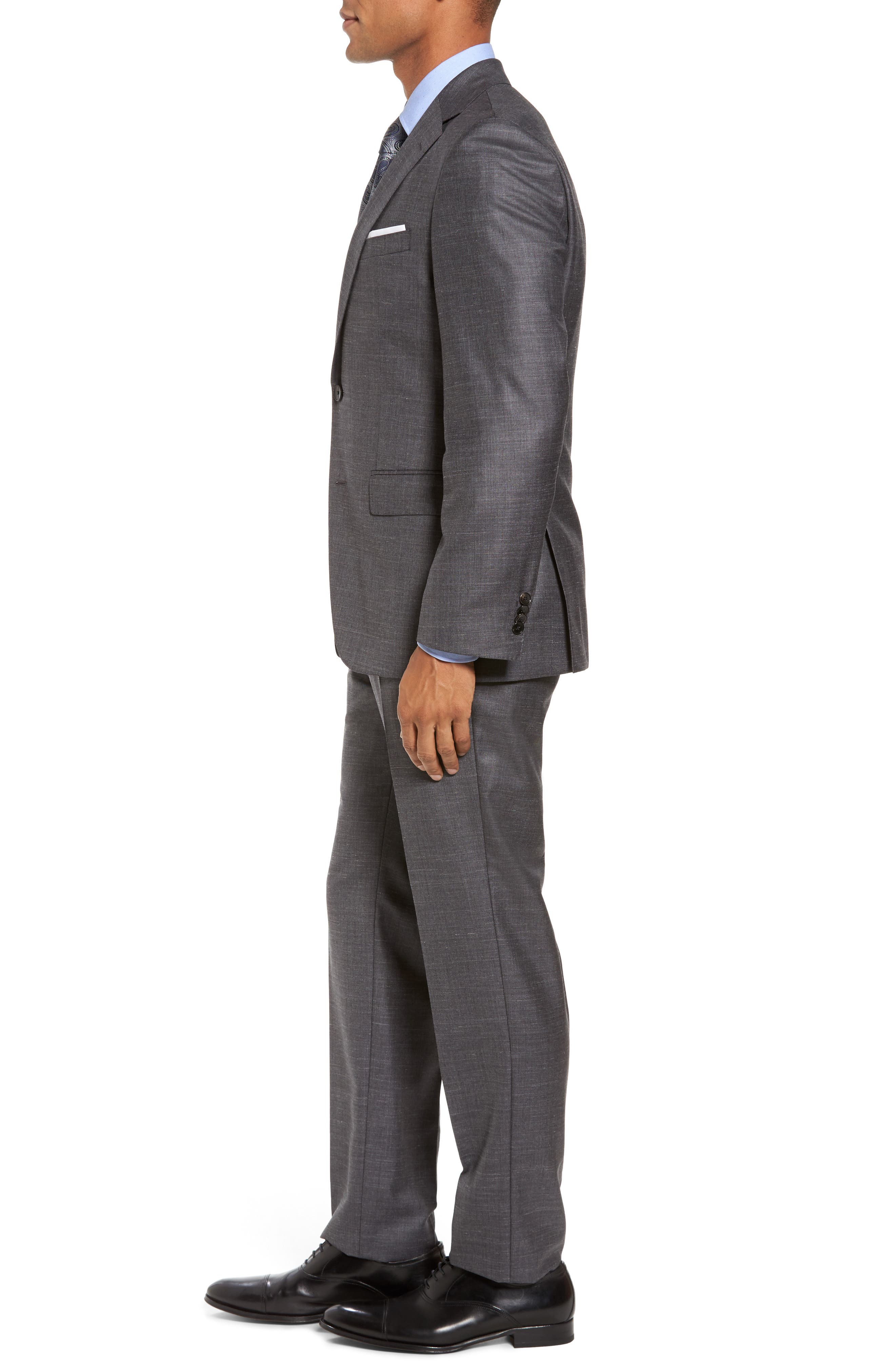 Johnstons/Lenon Classic Fit Solid Wool Blend Suit,                             Alternate thumbnail 3, color,                             Open Grey