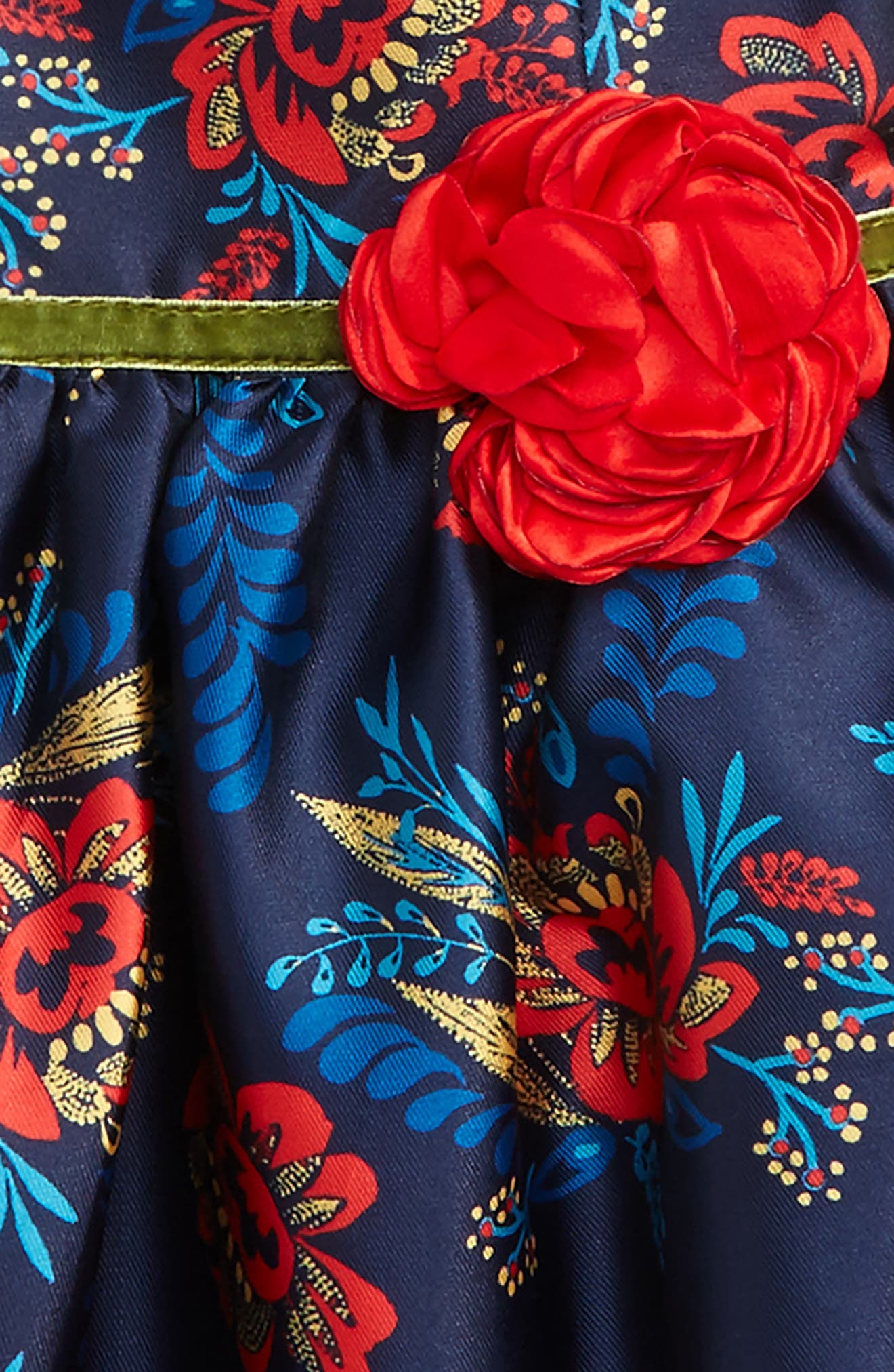 Floral Print Fit & Flare Dress,                             Alternate thumbnail 2, color,                             Navy