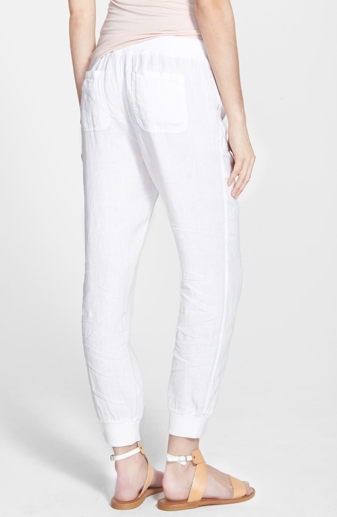 Linen Track Pants,                             Alternate thumbnail 2, color,                             White