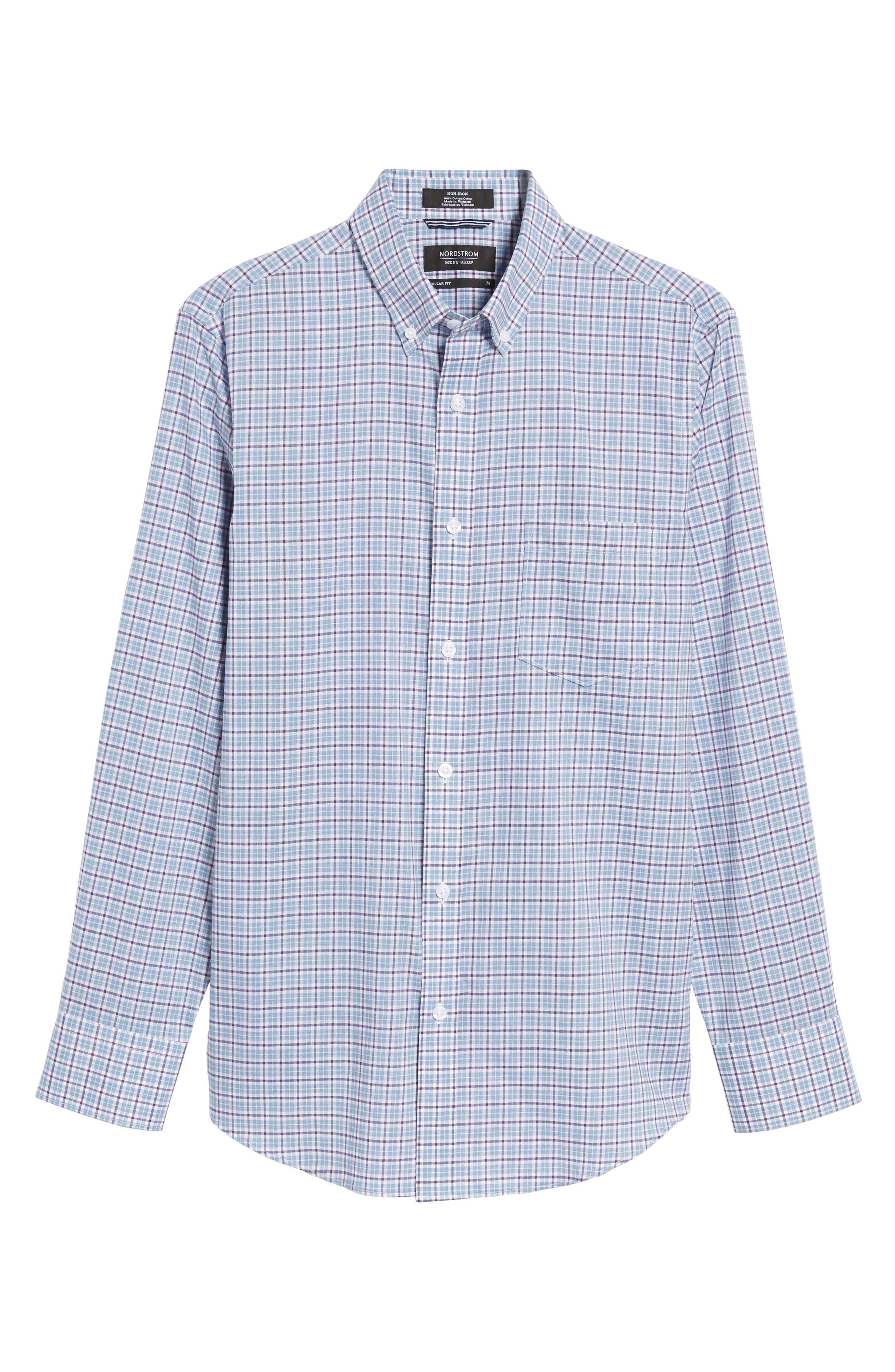 Alternate Image 6  - Nordstrom Men's Shop Non-Iron Regular Fit Check Sport Shirt