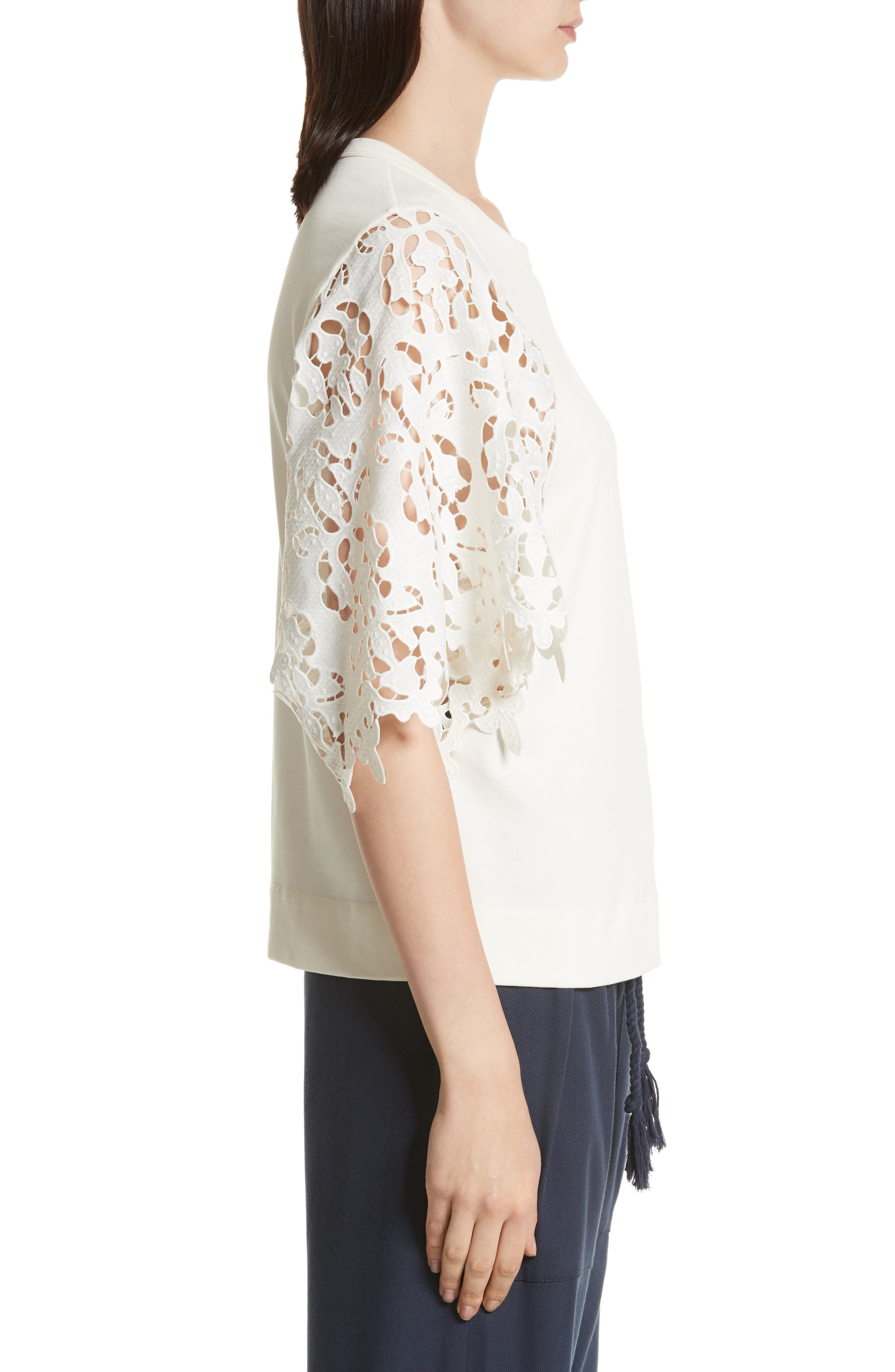 Lace Sleeve Top,                             Alternate thumbnail 3, color,                             Ivory
