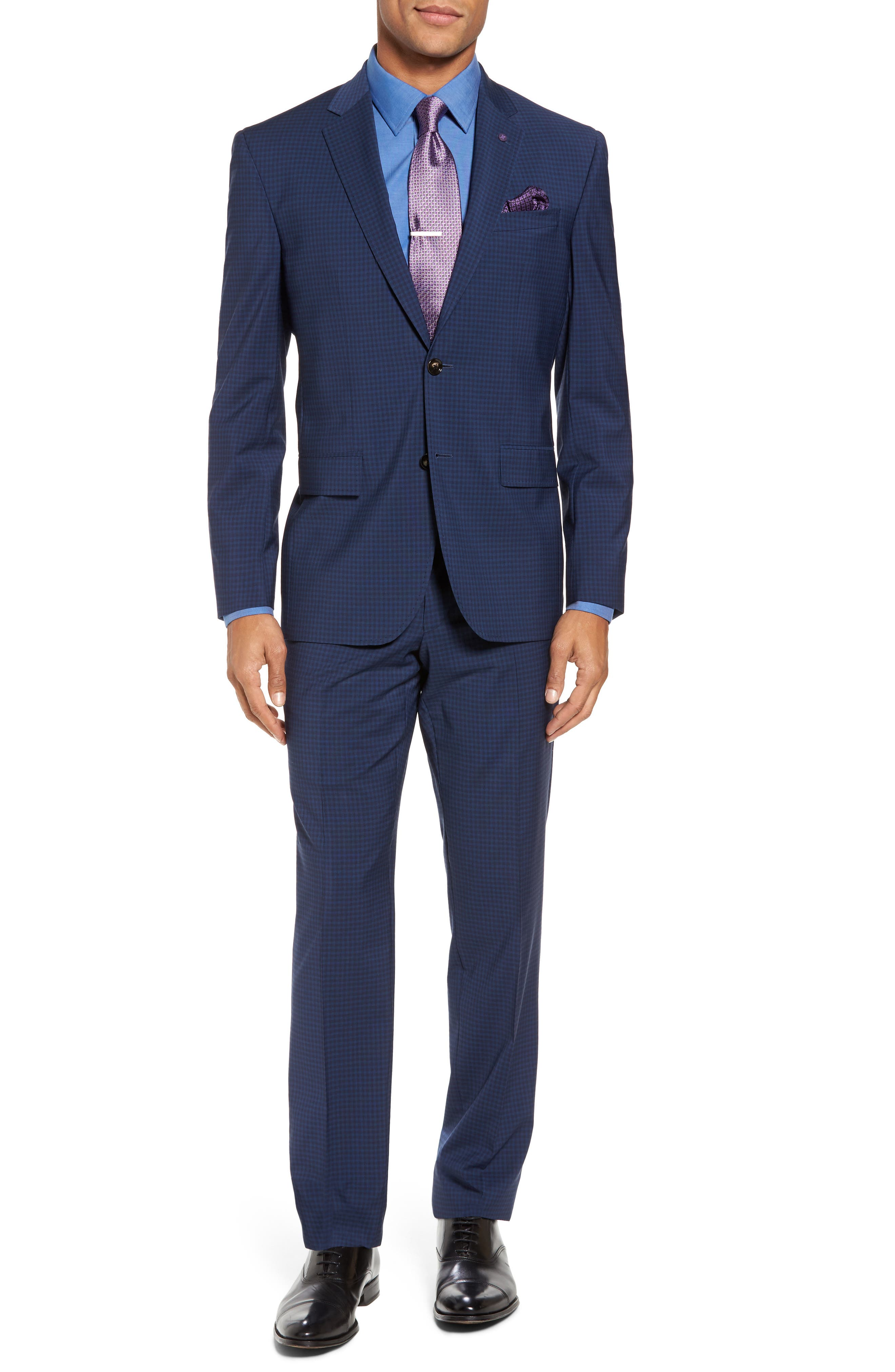 Jay Trim Fit Stretch Wool Suit,                         Main,                         color, Blue