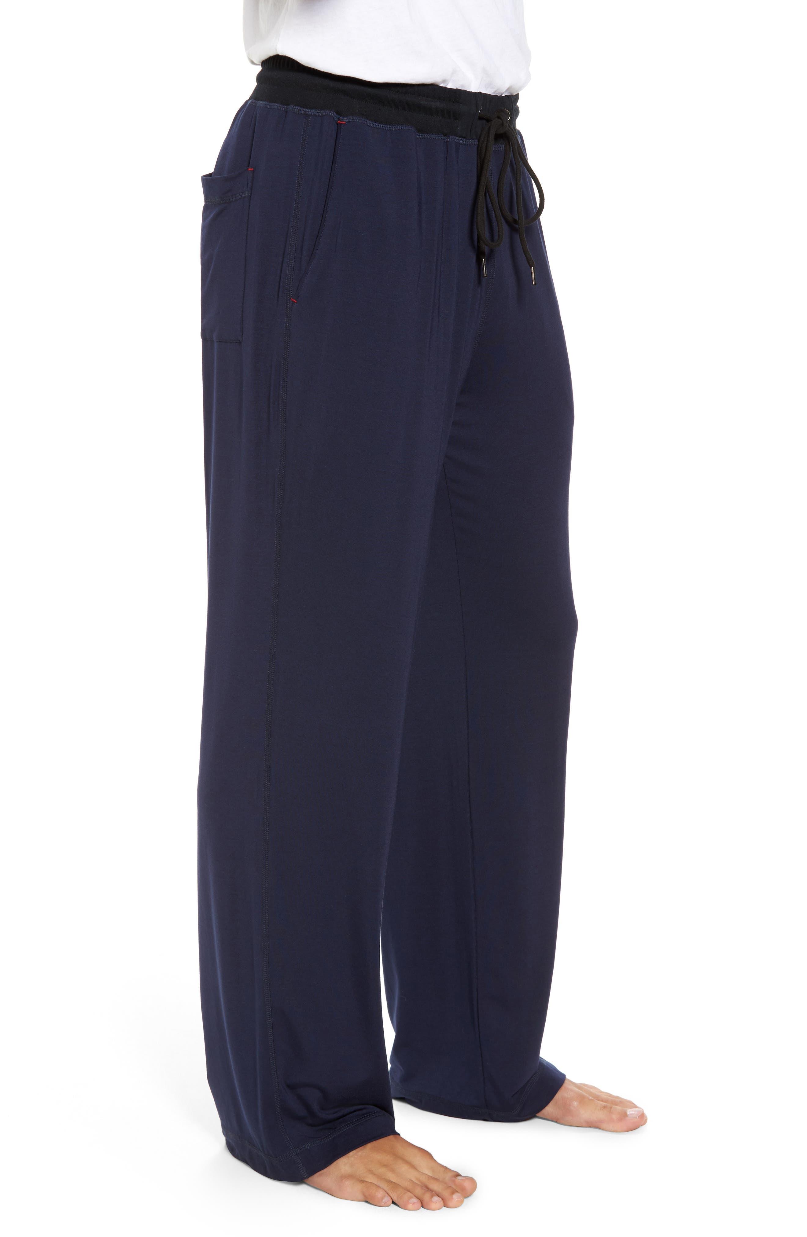 Modal & Silk Lounge Pants,                             Alternate thumbnail 3, color,                             Ink
