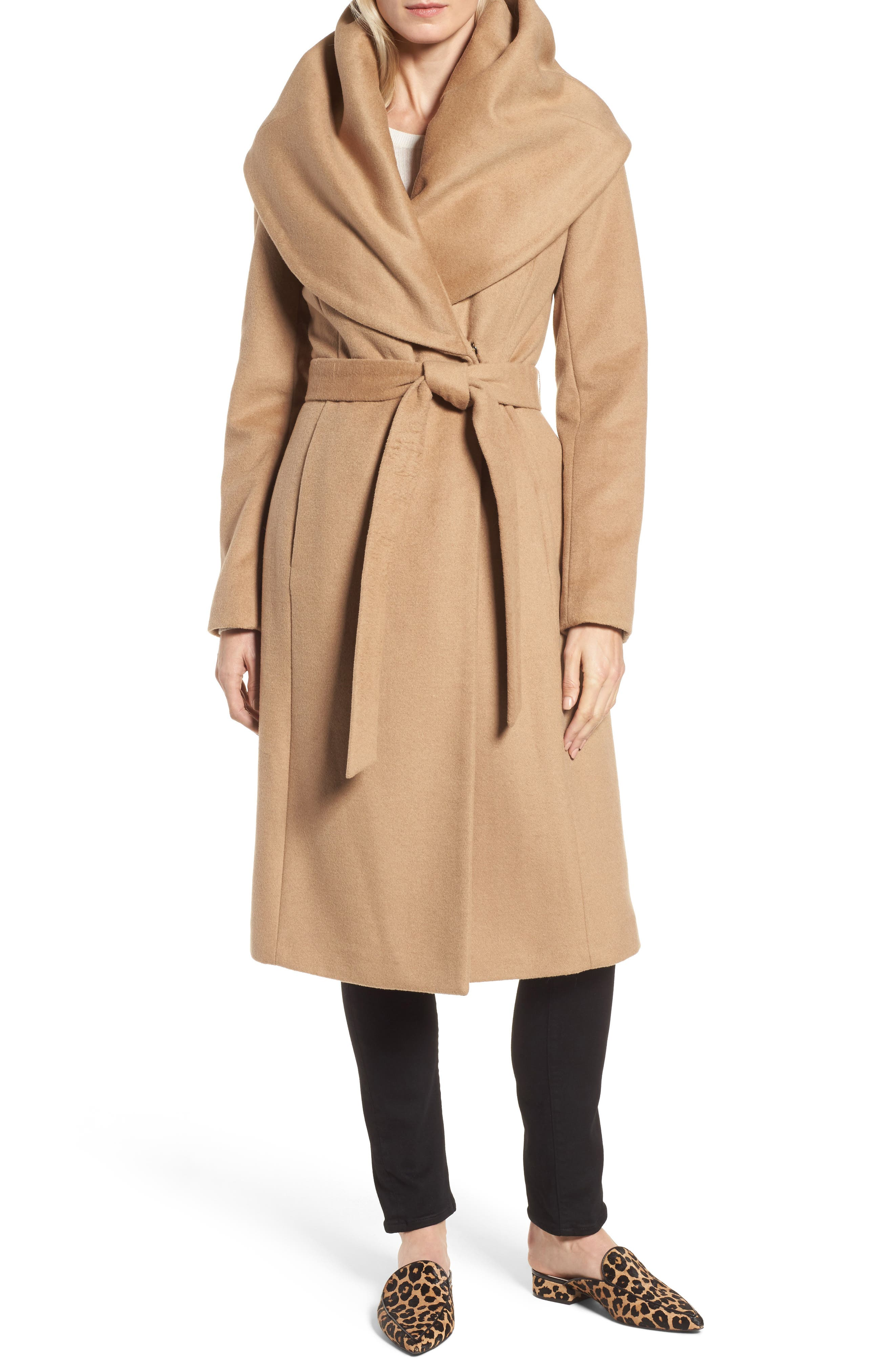 DKNY Wool Blend Shawl Collar Wrap Coat,                             Main thumbnail 1, color,                             Camel