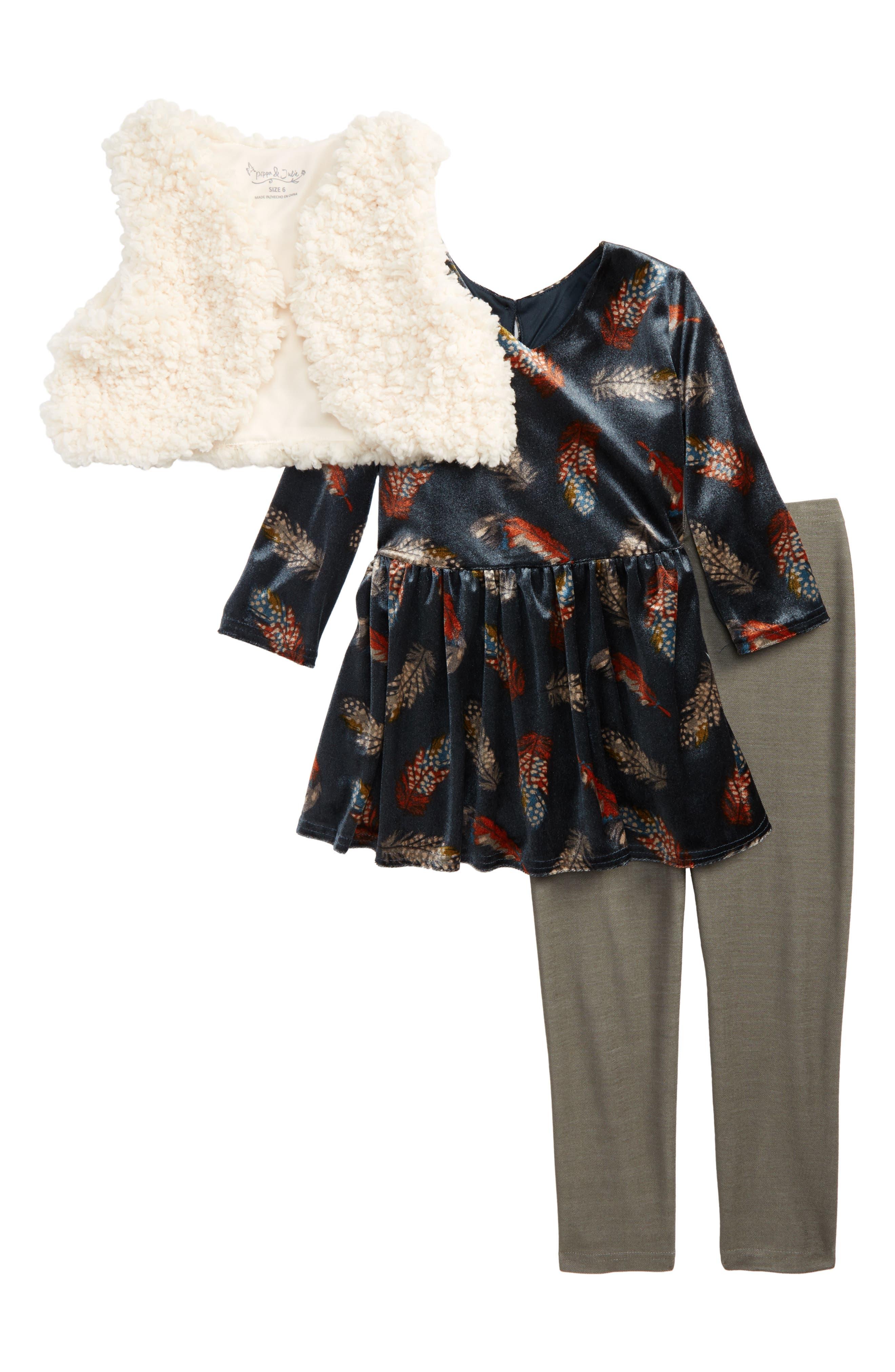 Pippa & Julie Faux Fur Vest, Velvet Top & Leggings Set (Toddler Girls, Little Girls & Big Girls)