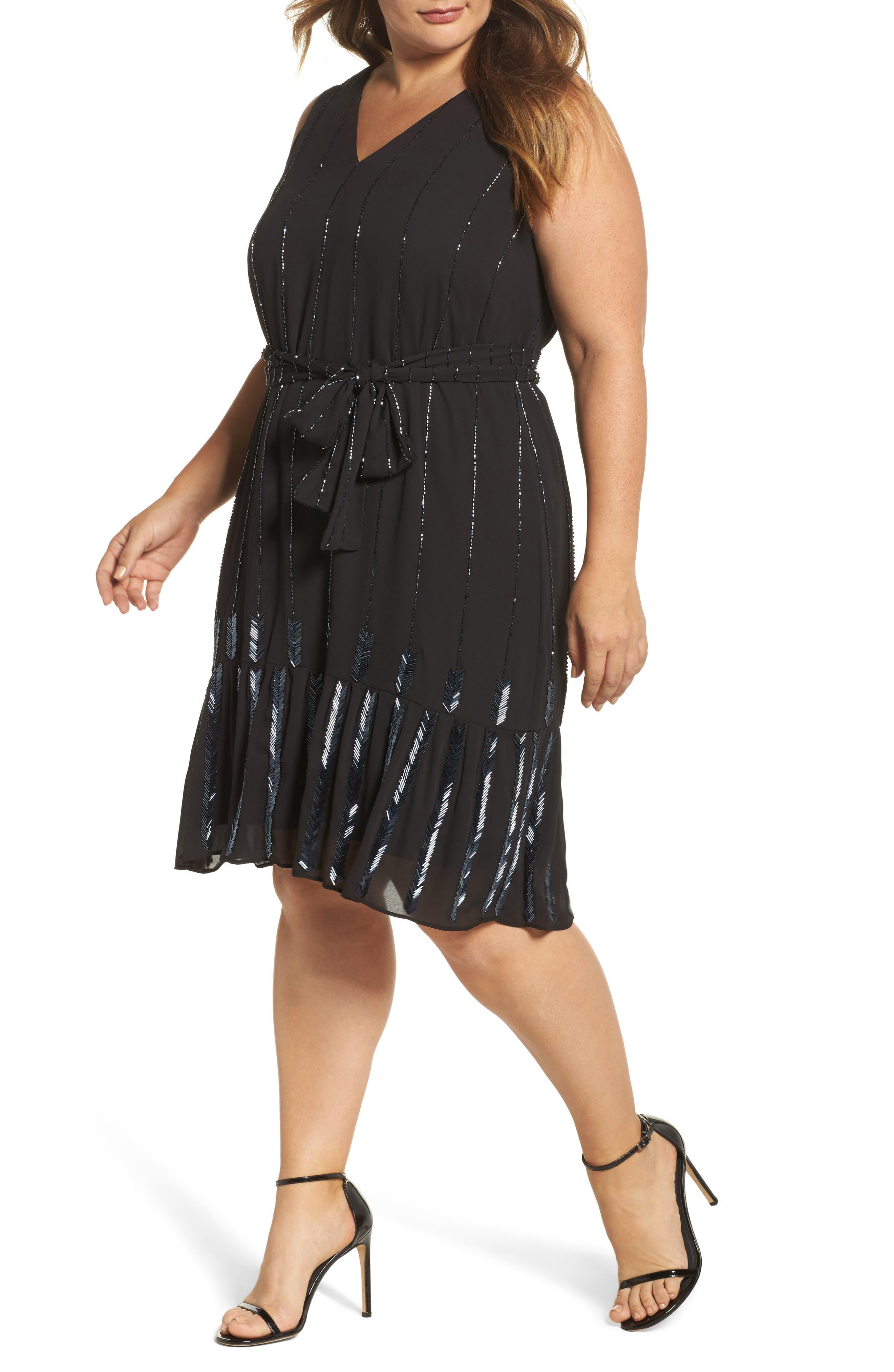 Beaded A-Line Dress,                             Main thumbnail 1, color,                             Black