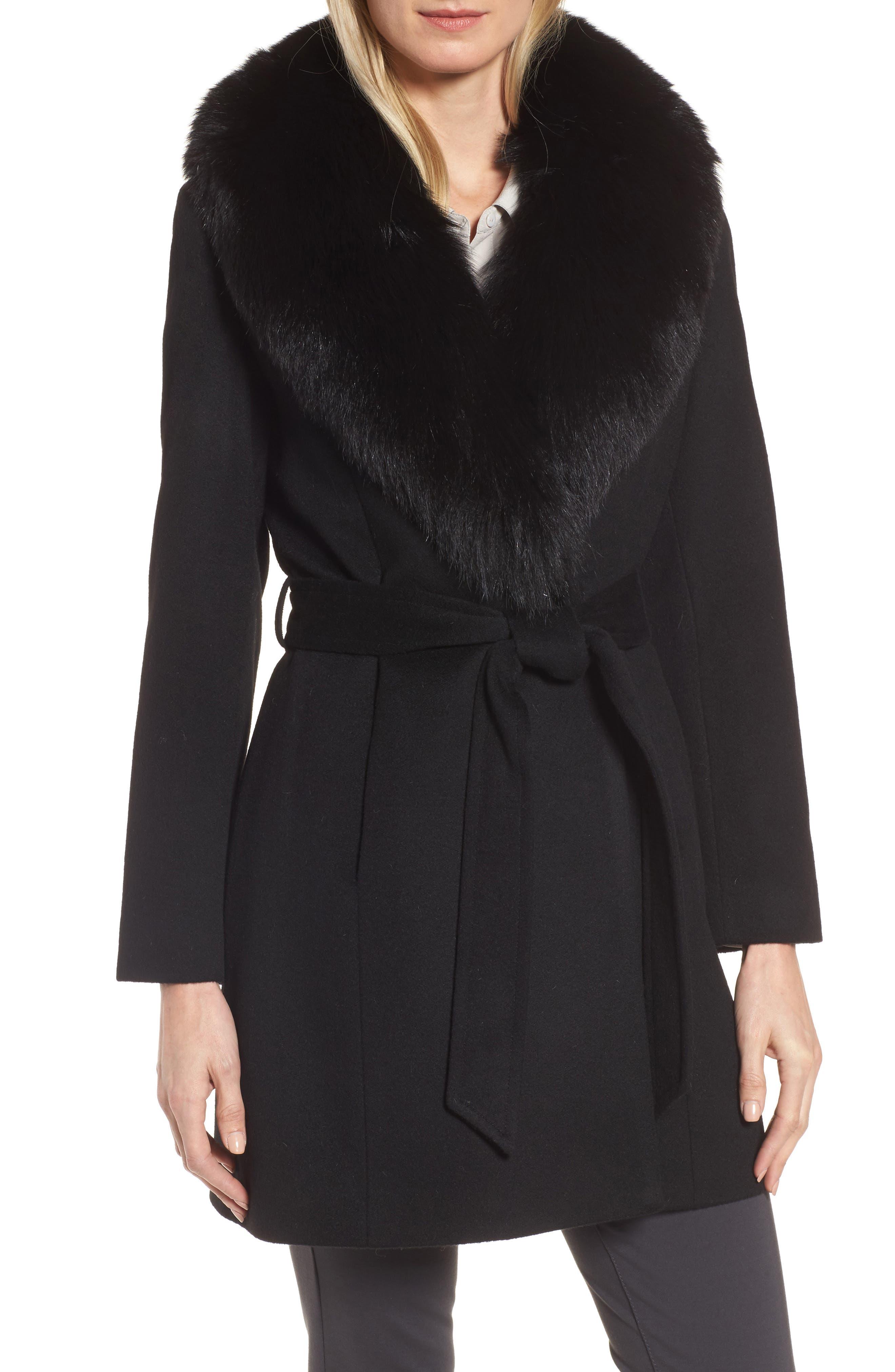 Sofia Cashmere Genuine Fox Fur Lapel Wrap Coat