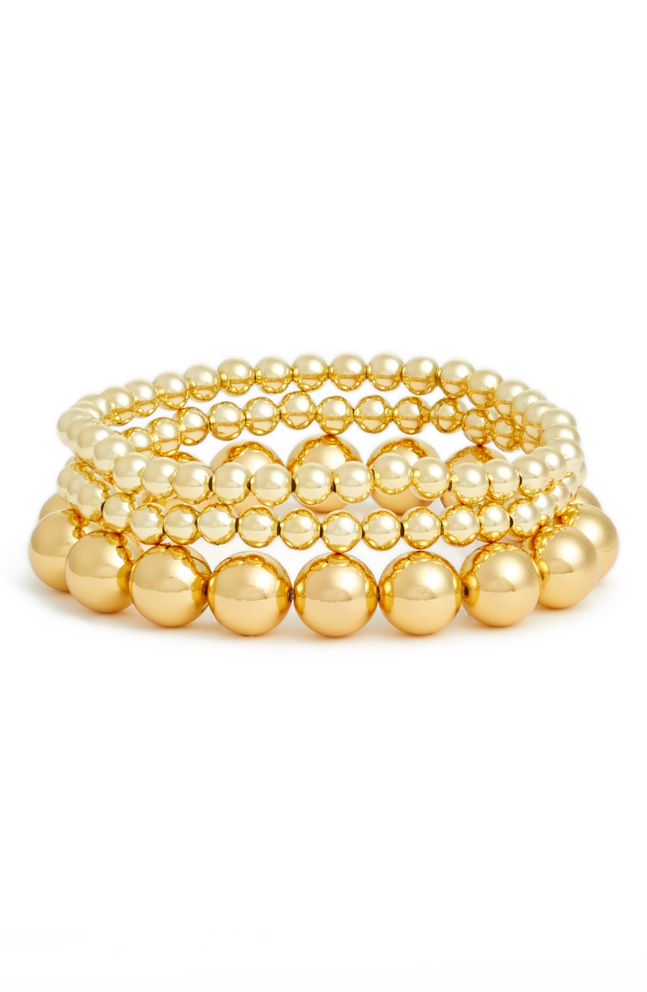 Newport Set of 3 Bead Bracelets,                             Main thumbnail 1, color,                             Gold
