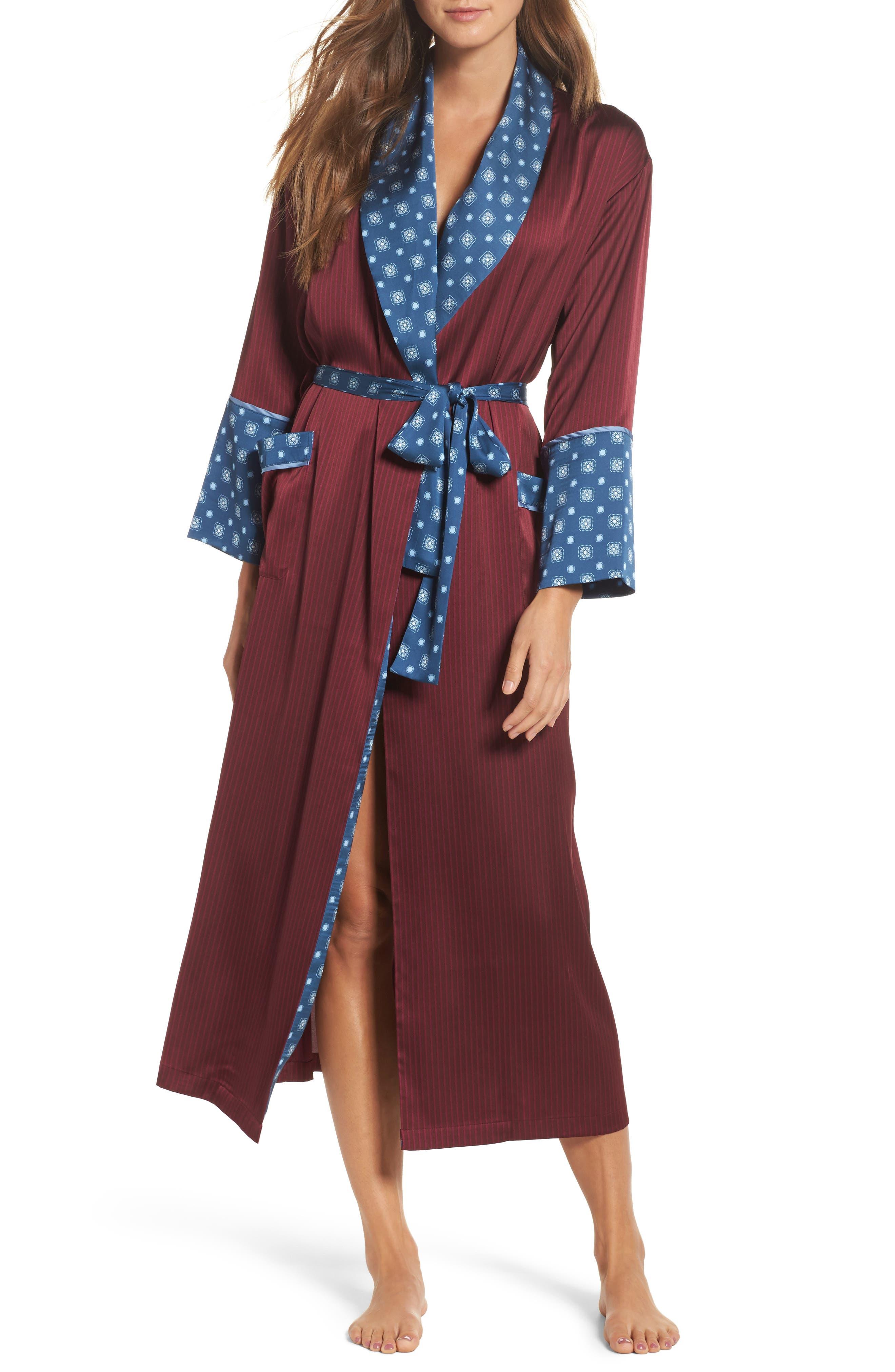 Mixed Print Robe,                         Main,                         color, Bordeaux