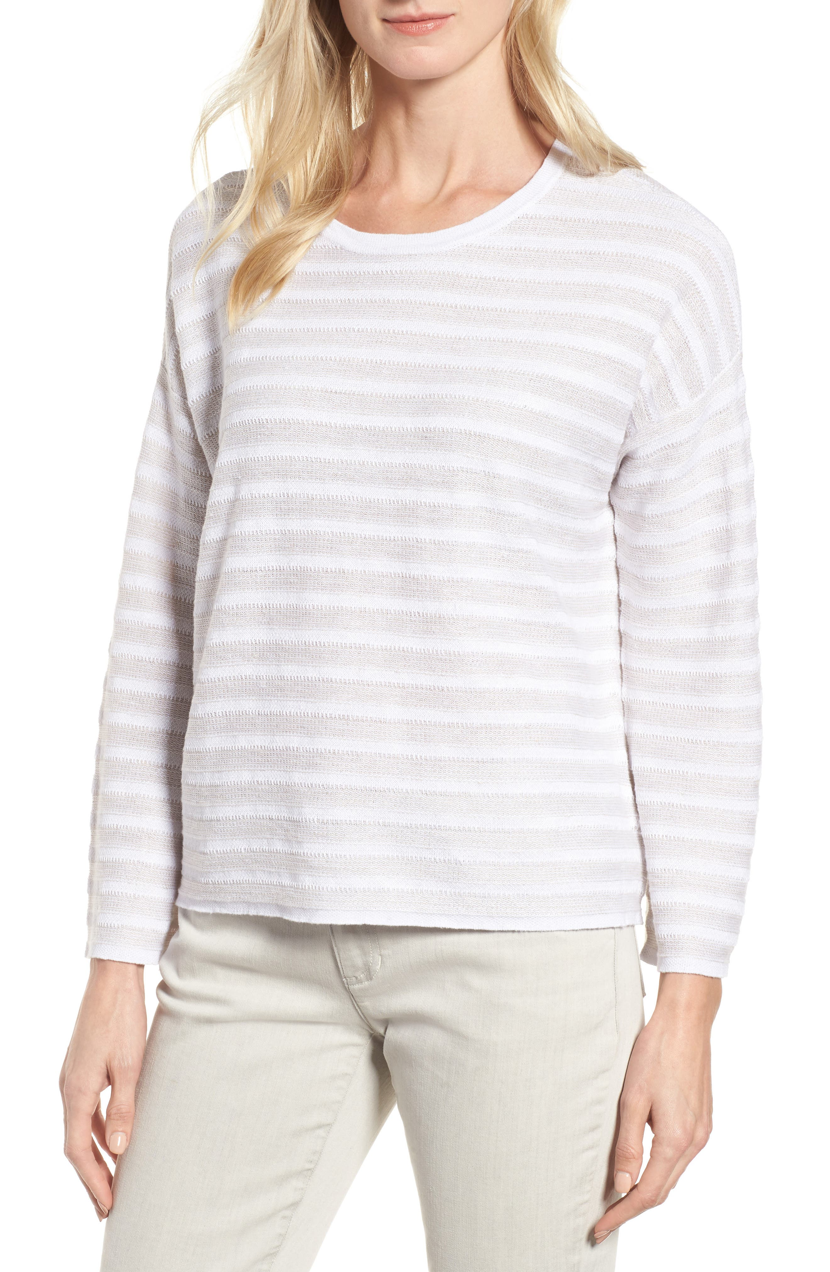 Alternate Image 1 Selected - Eileen Fisher Textured Organic Linen Sweater