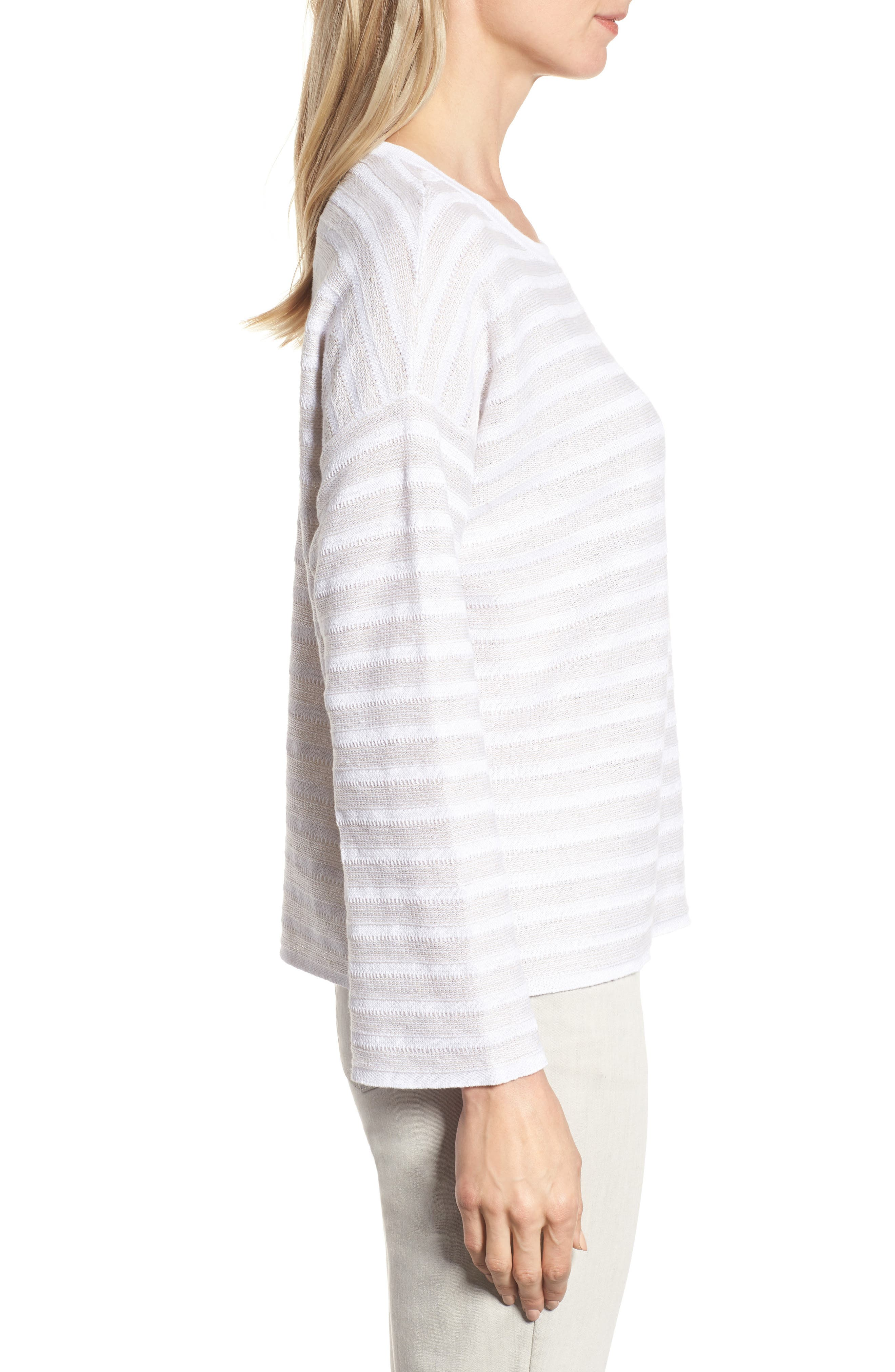 Textured Organic Linen Sweater,                             Alternate thumbnail 3, color,                             White Natural