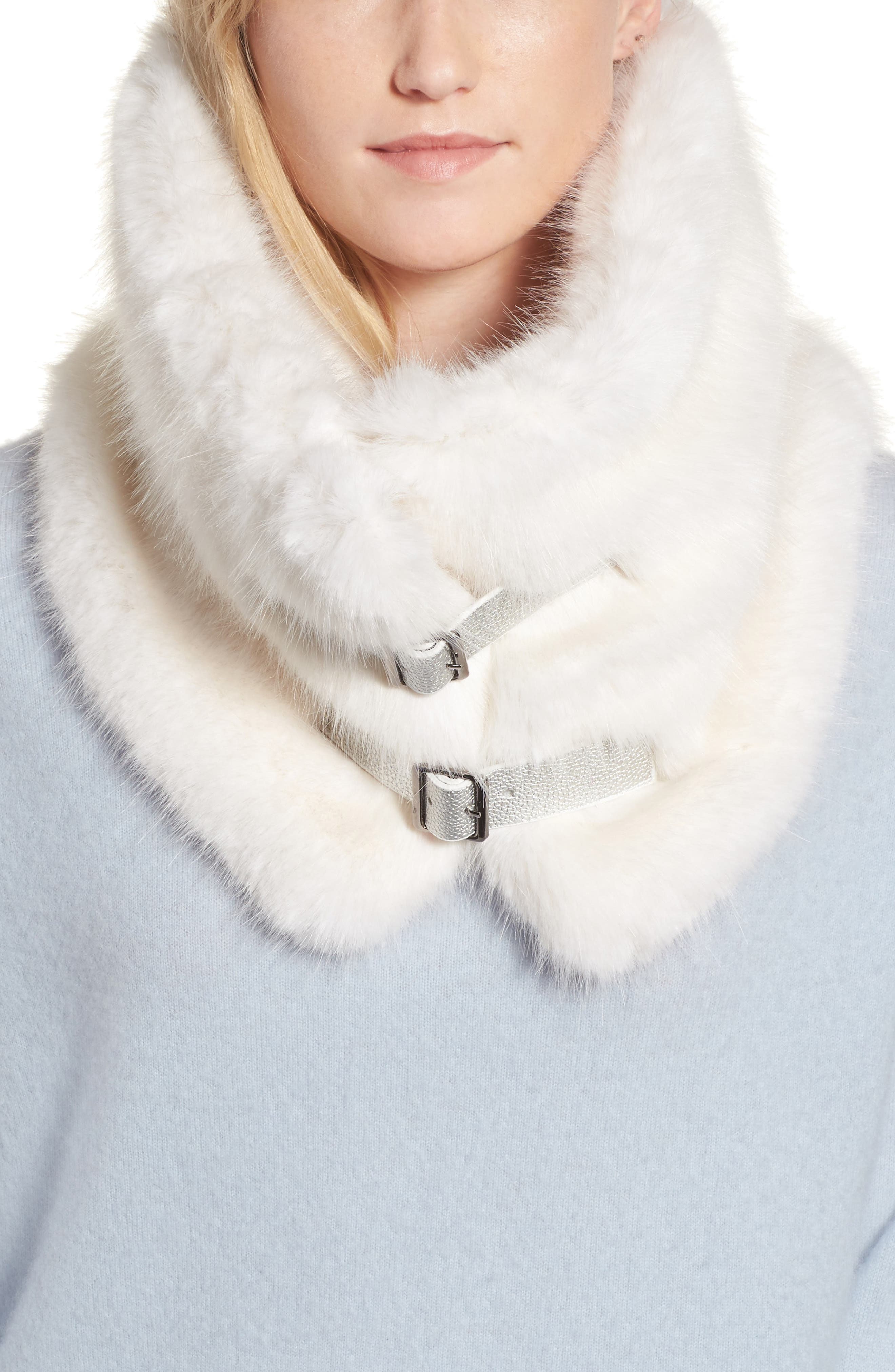 Buckled Faux Fur Cowl Scarf,                         Main,                         color, White Mink