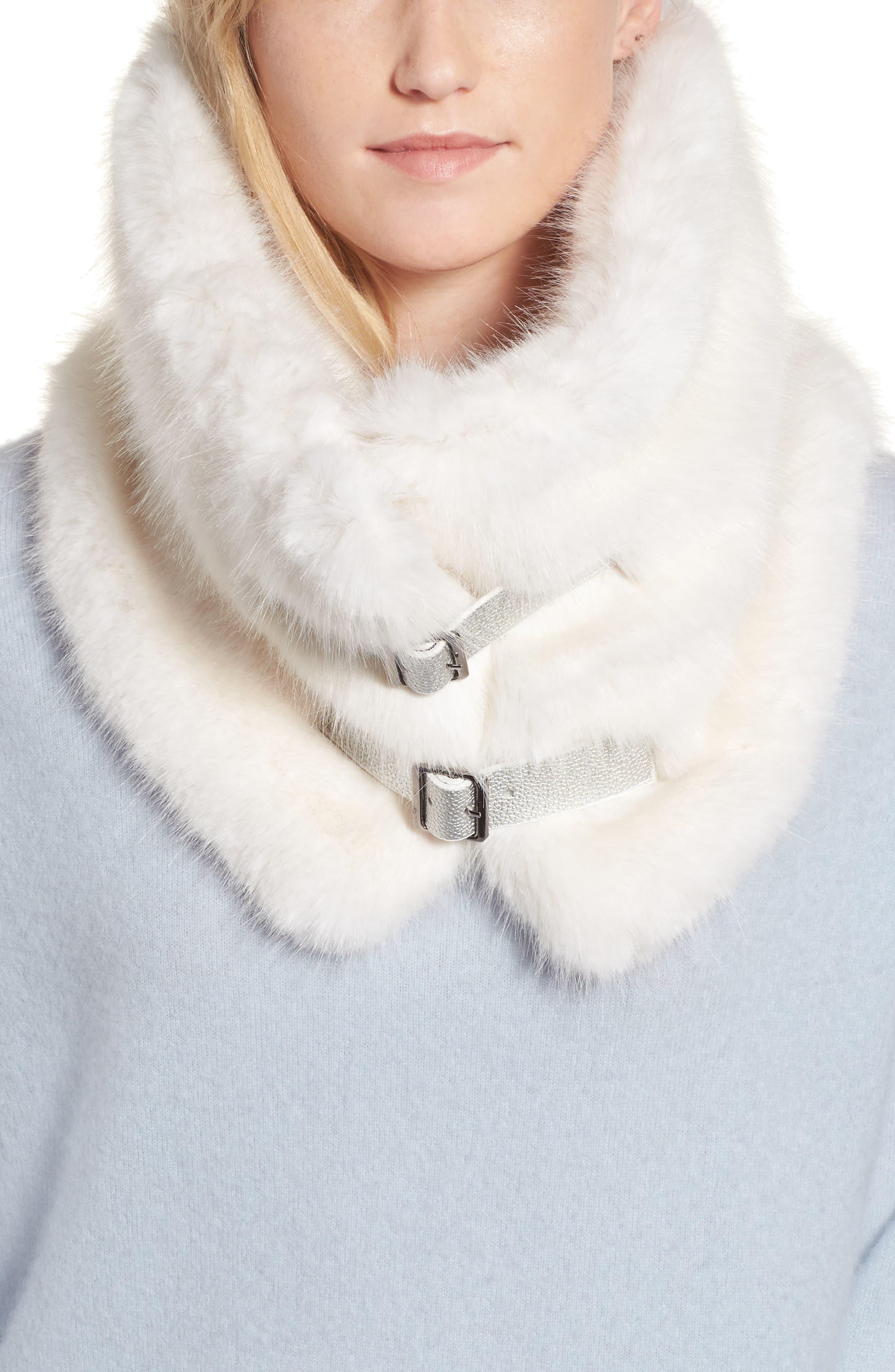 Heurueh Buckled Faux Fur Cowl Scarf