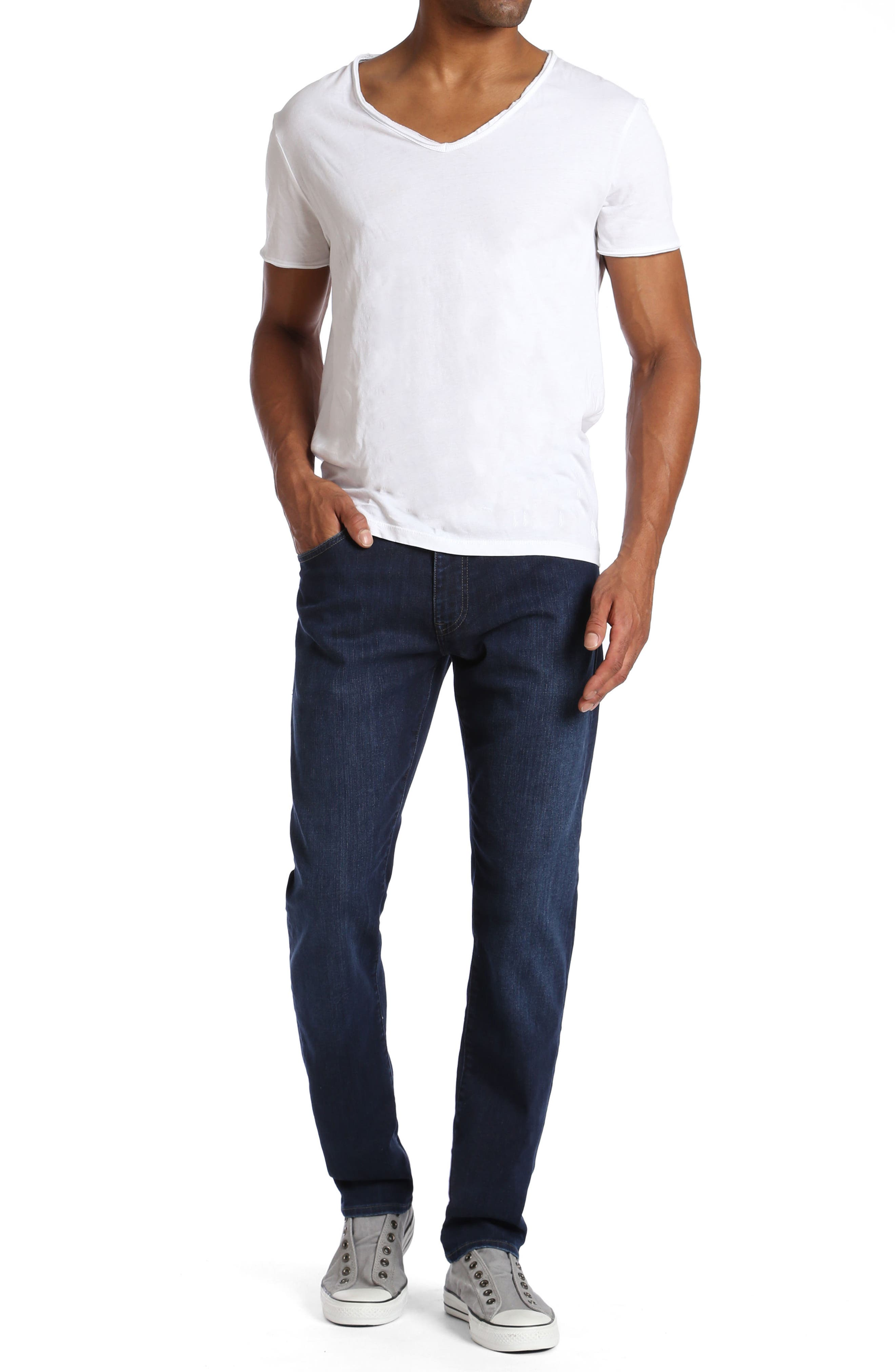 Zach Straight Fit Jeans,                             Alternate thumbnail 4, color,                             Deep Clean Comfort