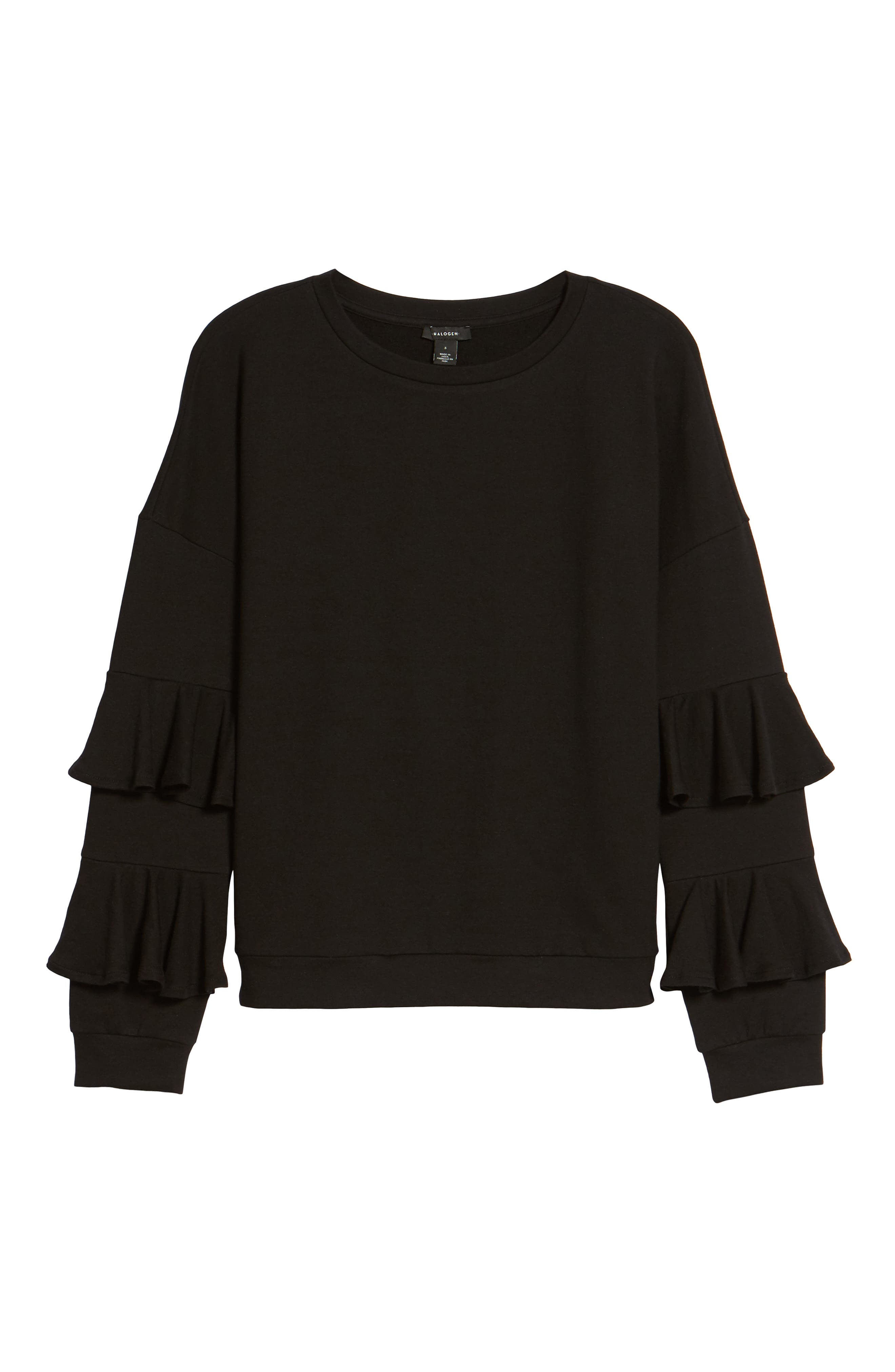 Alternate Image 6  - Halogen® Ruffle Sleeve Sweatshirt (Regular & Petite)