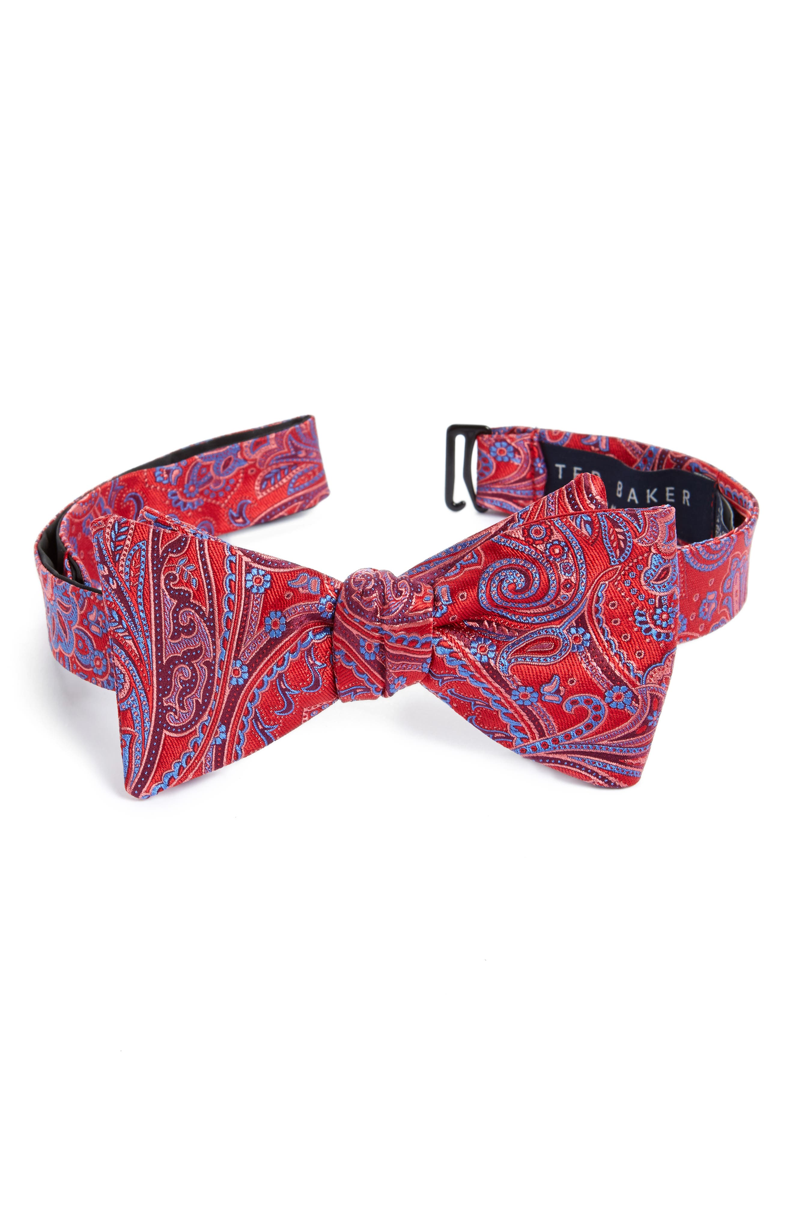 Chester Paisley Silk Bow Tie,                             Main thumbnail 1, color,                             Red