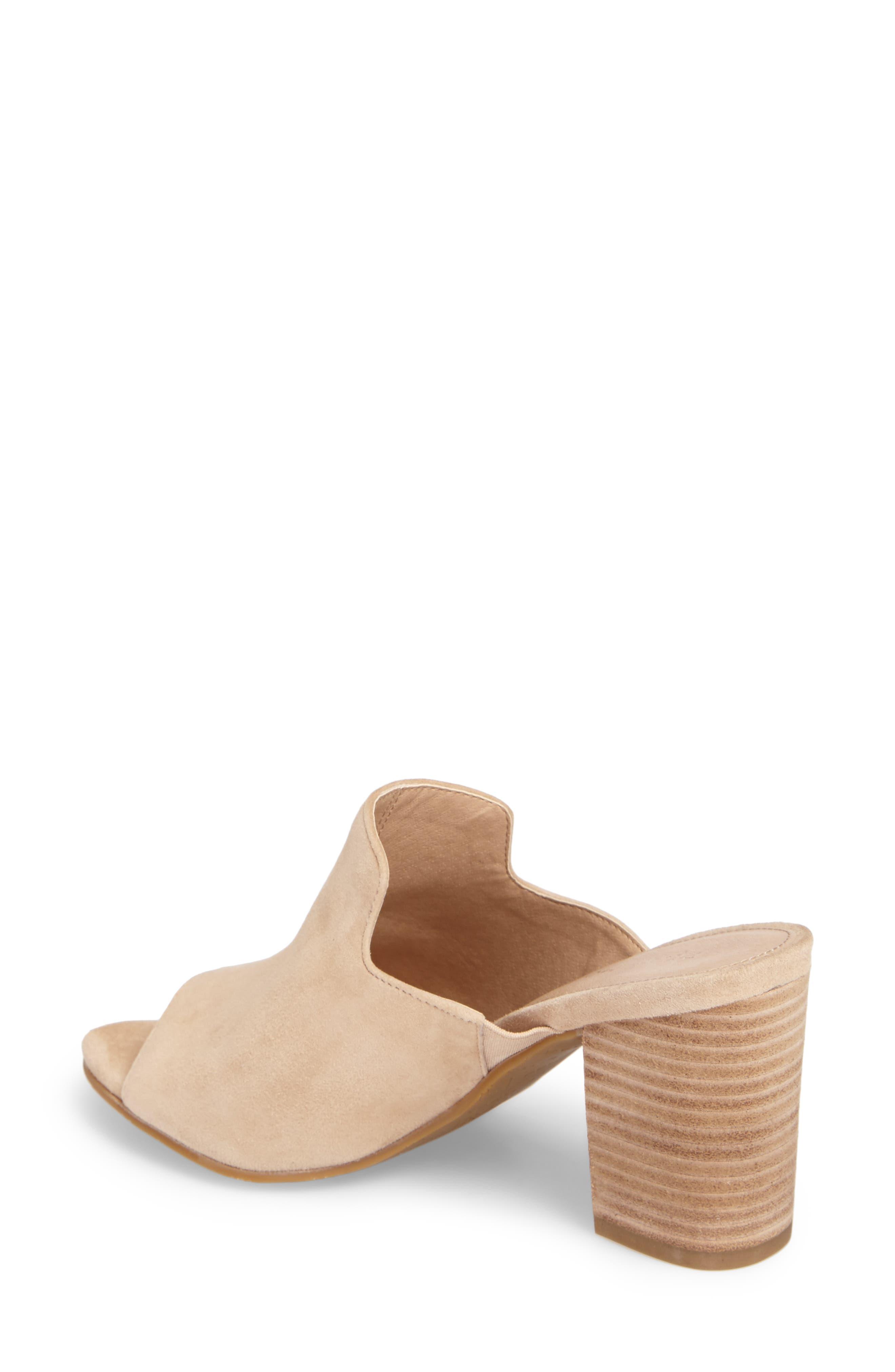 Blair Peep Toe Mule,                             Alternate thumbnail 2, color,                             Sand Leather