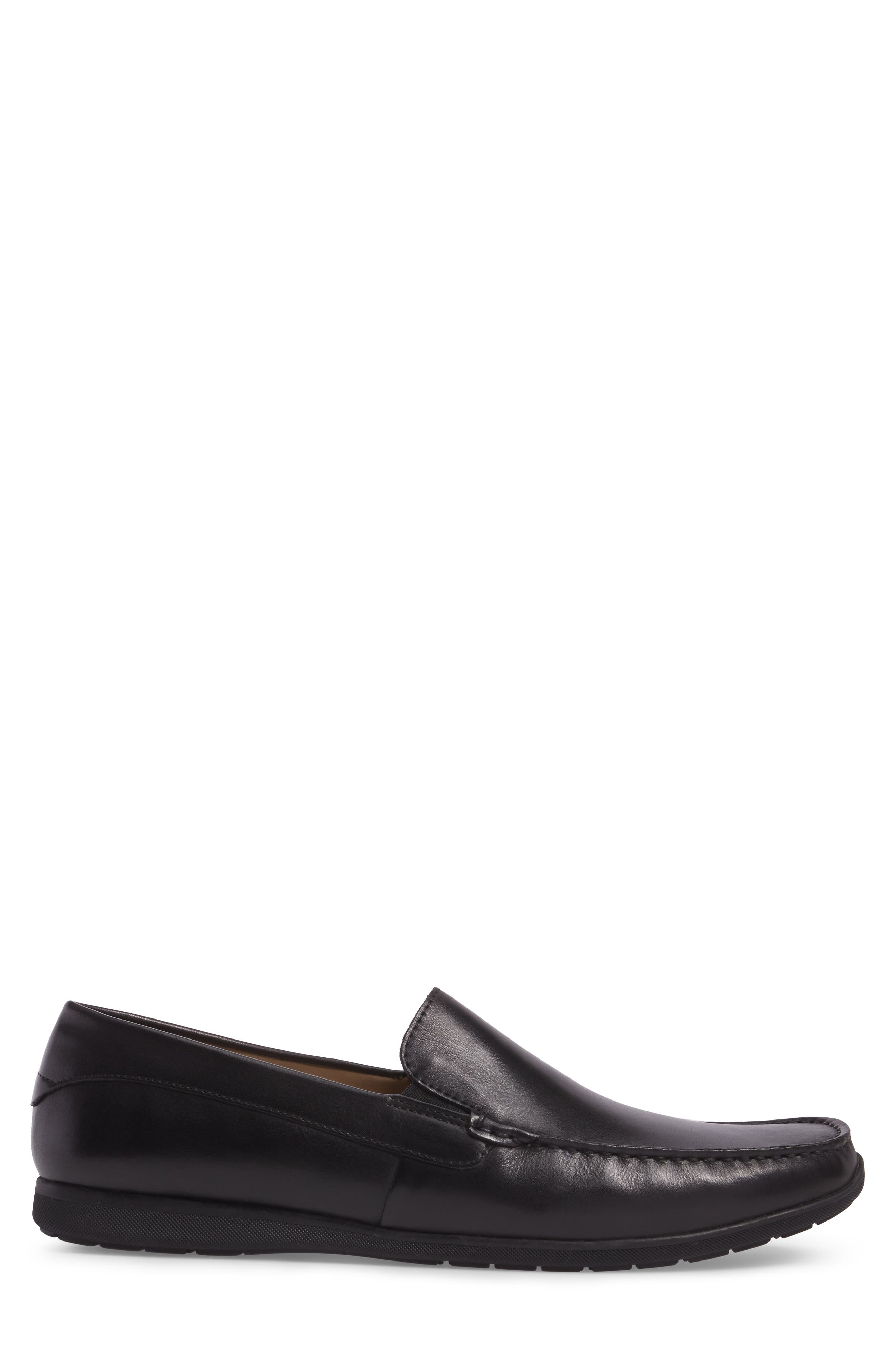 Classic Loafer,                             Alternate thumbnail 3, color,                             Black Leather