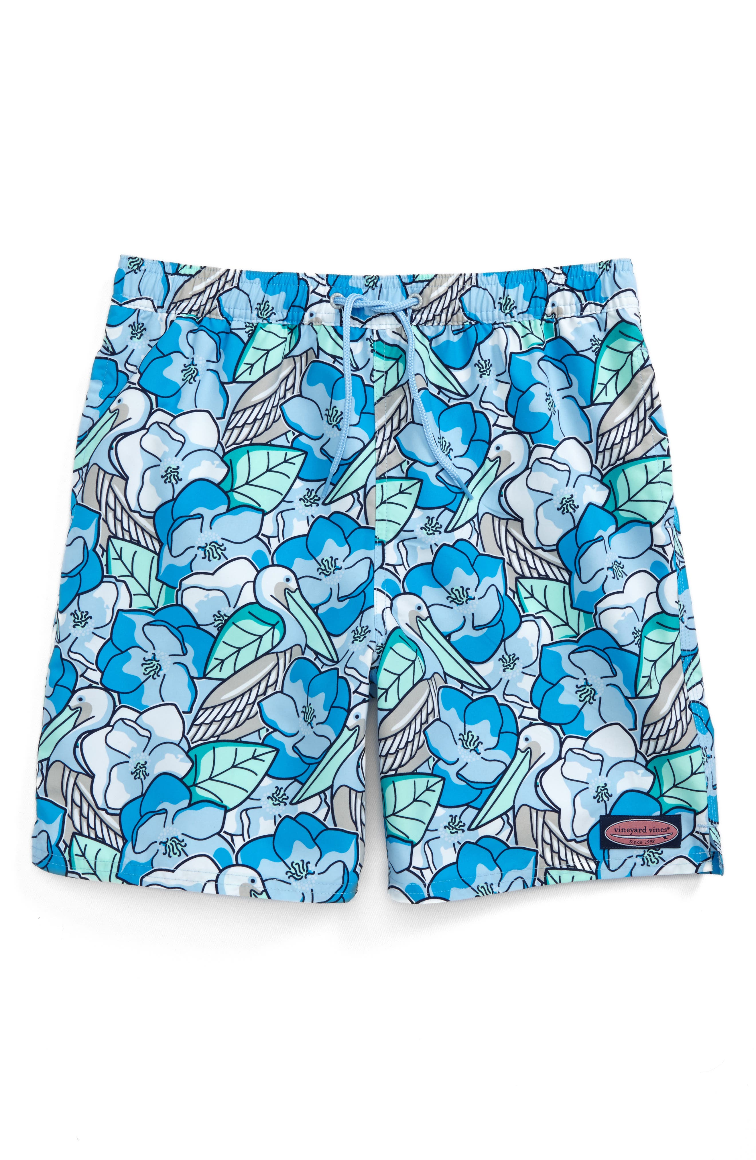 Pelican Magnolias Chappy Swim Trunks,                             Main thumbnail 1, color,                             Airy Blue