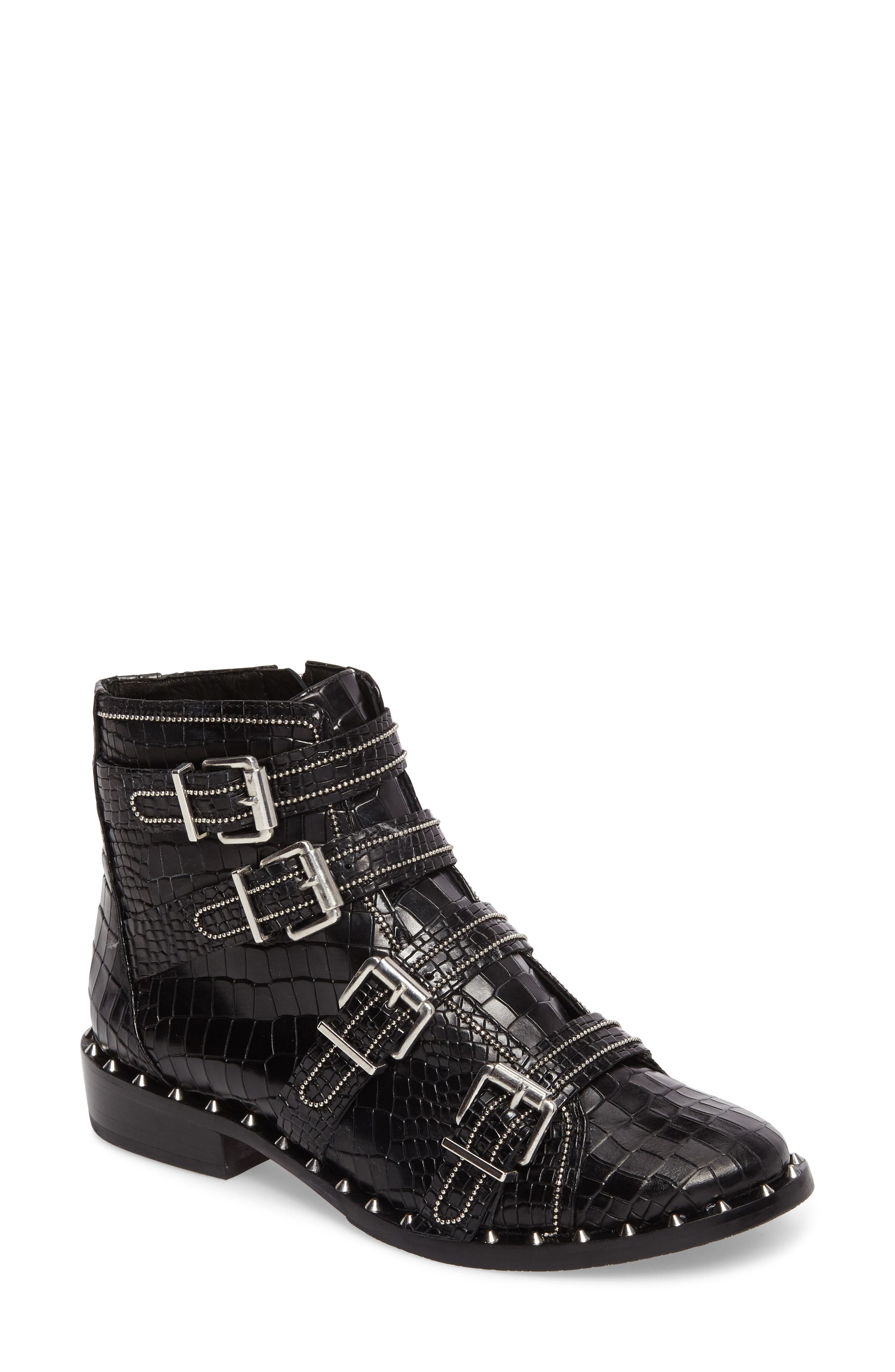 Darcey Studded Croc Embossed Bootie,                         Main,                         color, Black Croc Embossed Leather