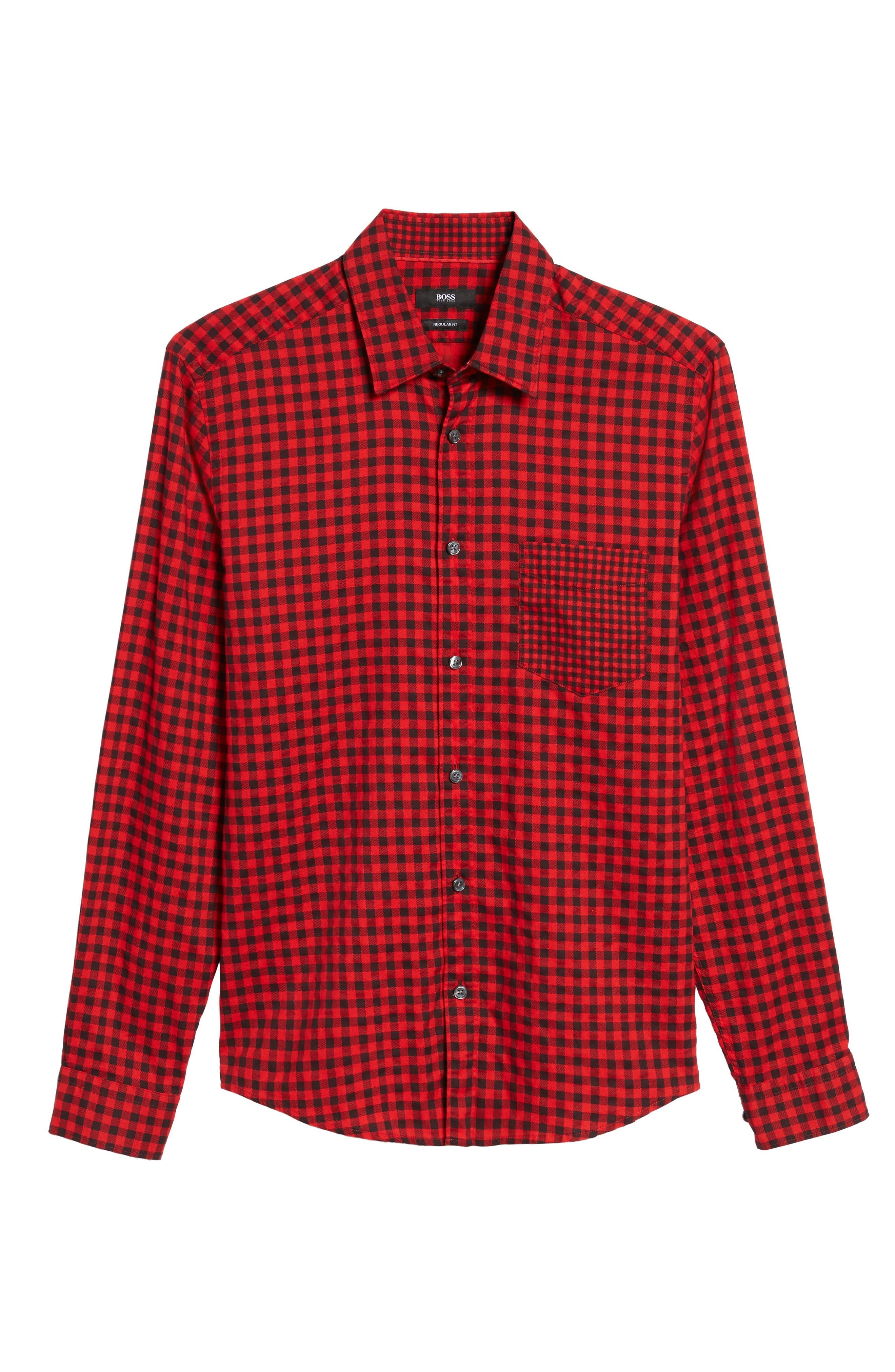 Lance Regular Fit Gingham Check Twill Sport Shirt,                             Alternate thumbnail 6, color,                             Red