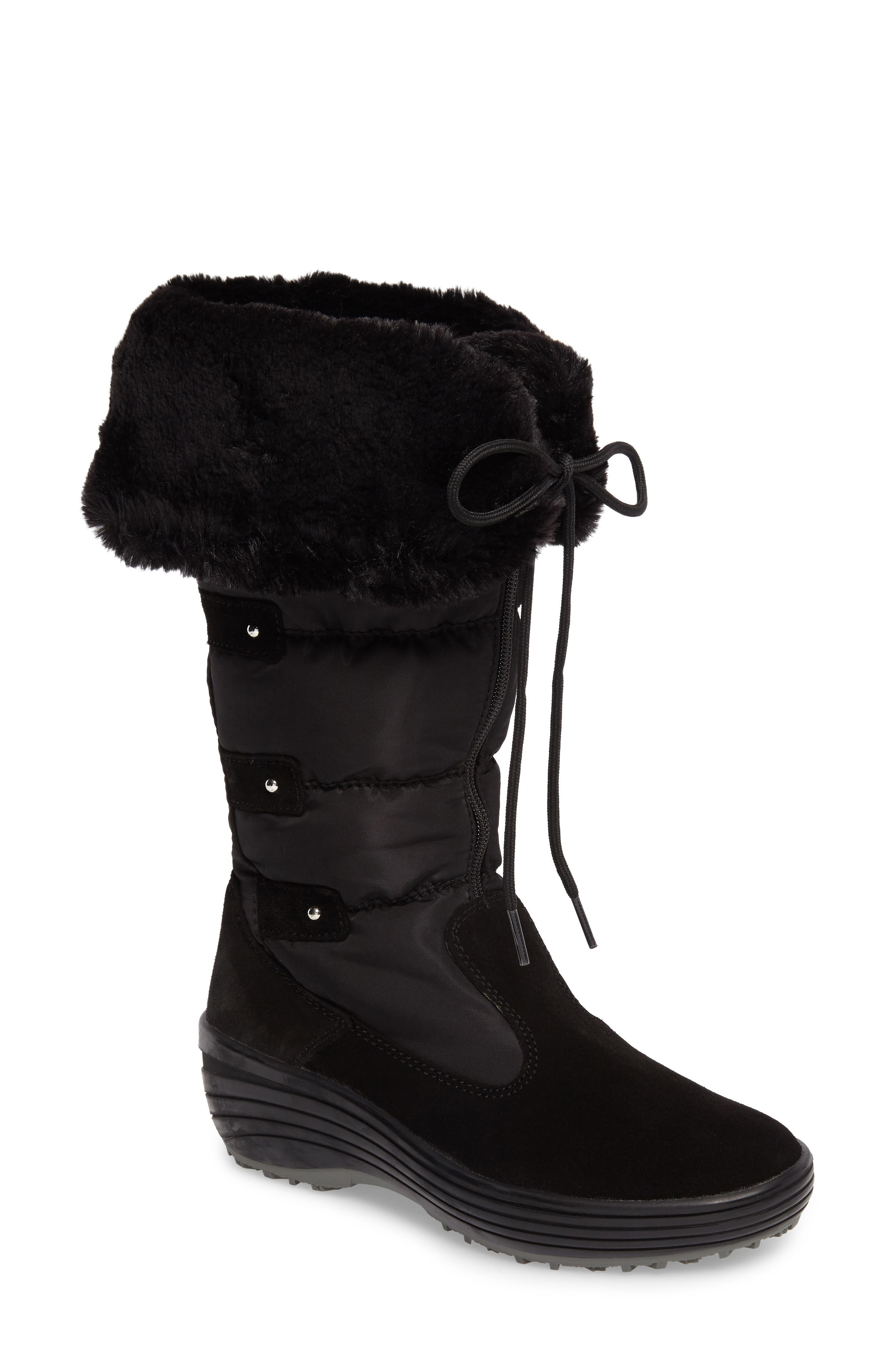 Mia Waterproof Boot with Faux Fur Trim,                         Main,                         color, Black Suede