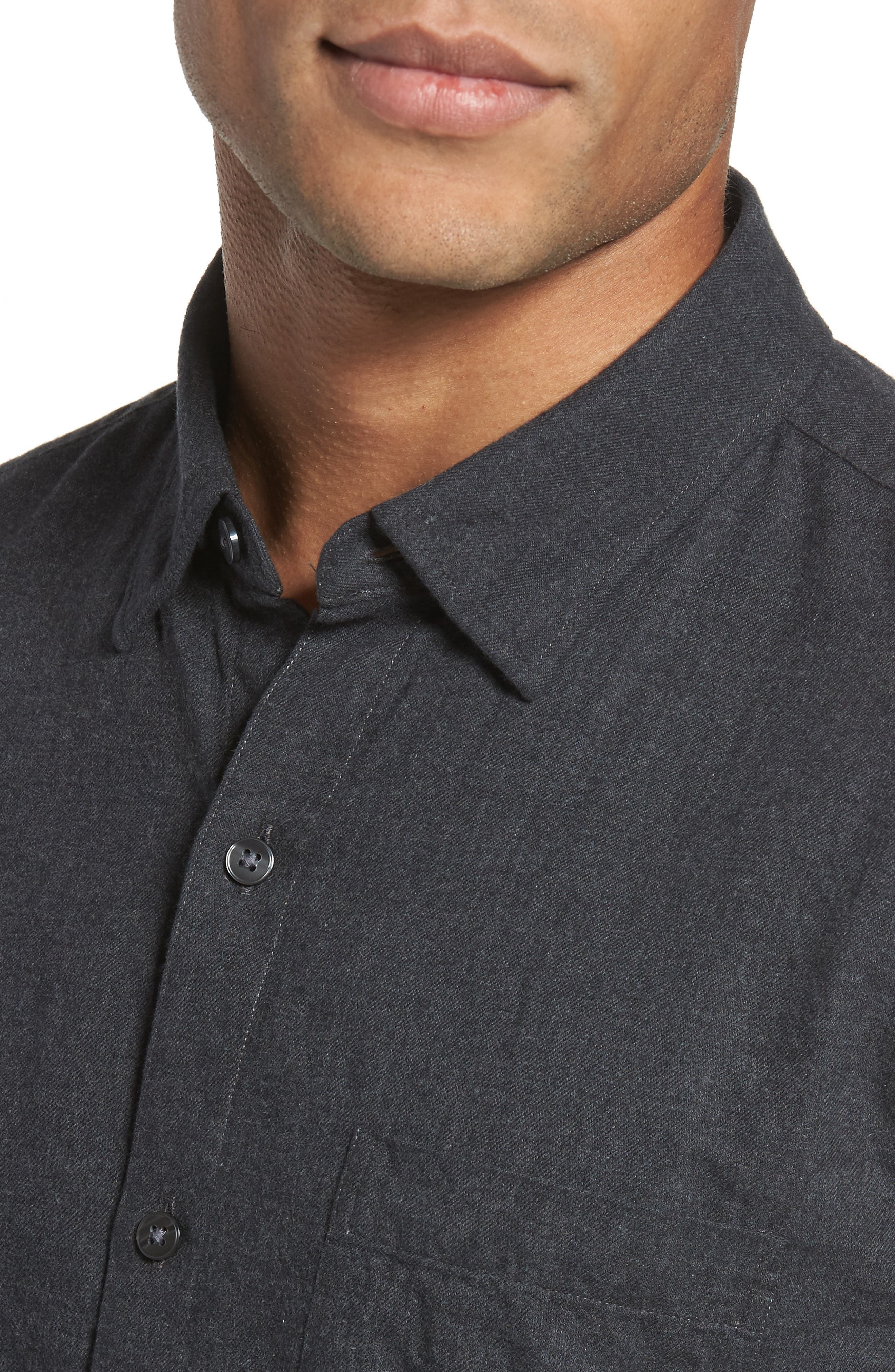 Slim Fit Brushed Twill Sport Shirt,                             Alternate thumbnail 2, color,                             Heather Charcoal