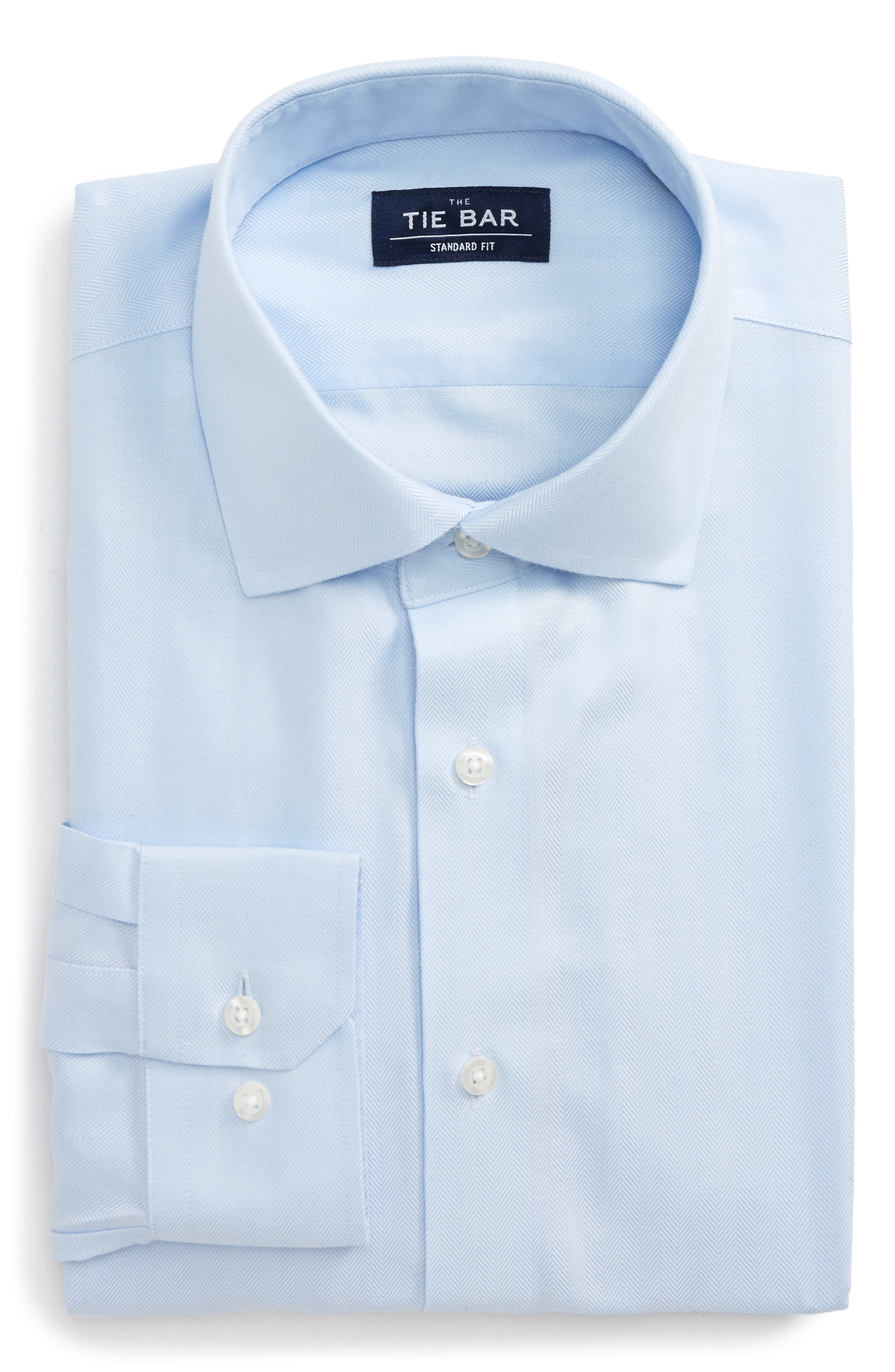 Standard Fit Herringbone Dress Shirt,                             Main thumbnail 1, color,                             Light Blue